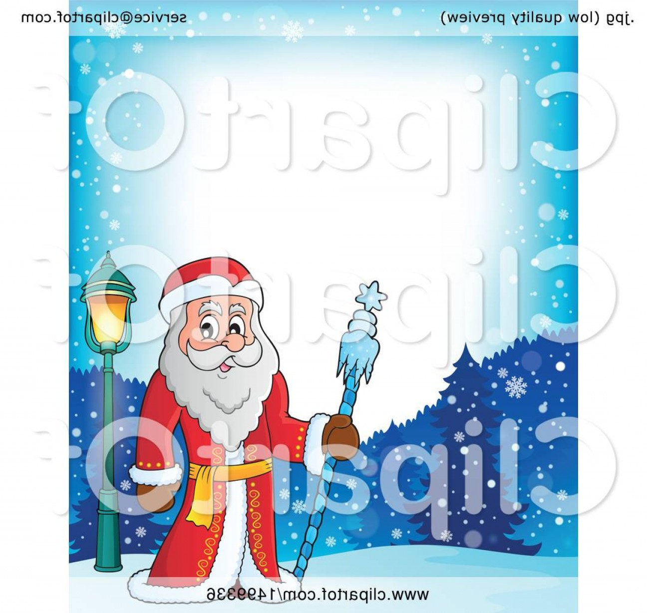 Frost Border Vector: Father Frost Or Santa Claus In A Border