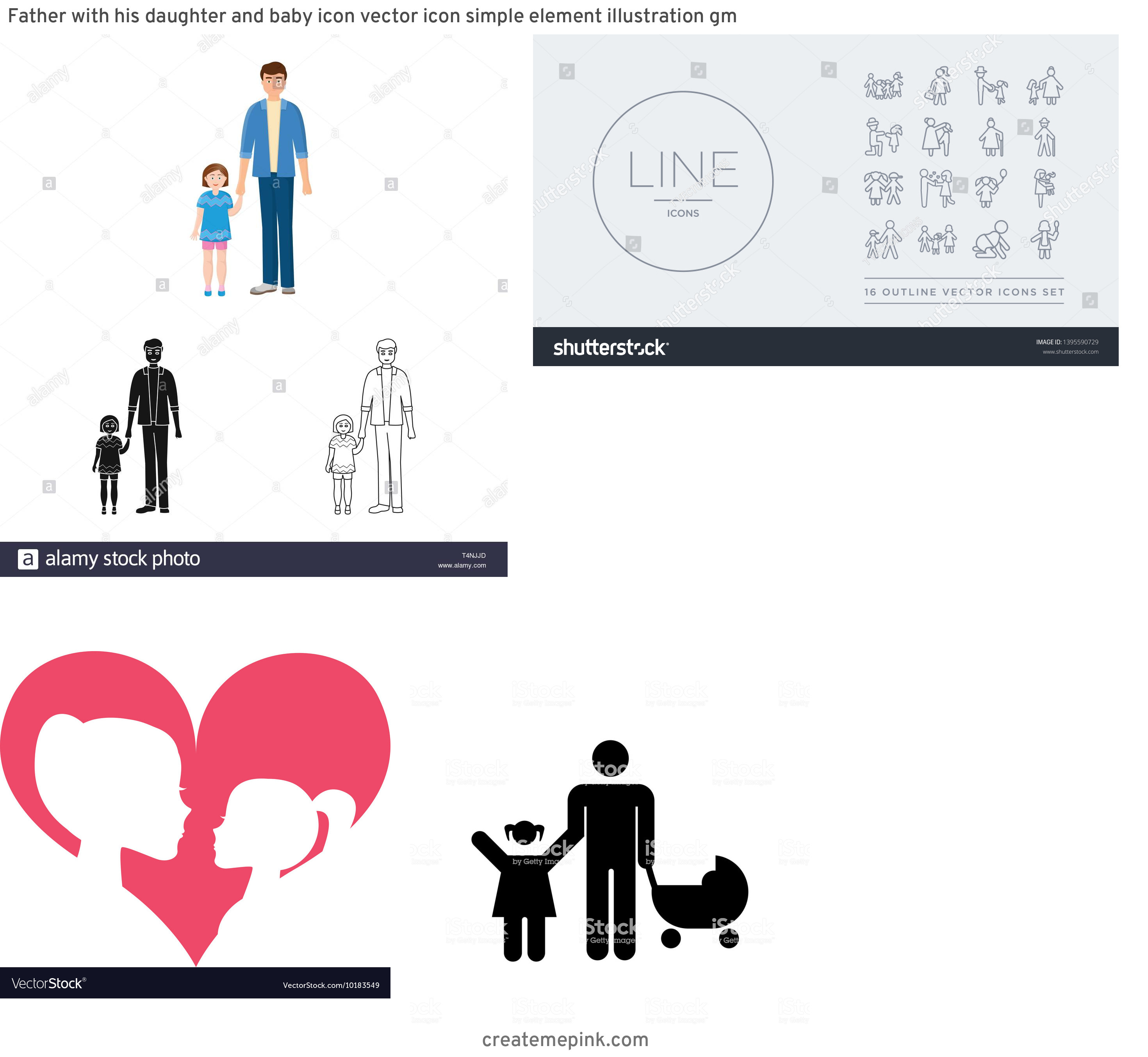 Daughter Vector Icons: Father With His Daughter And Baby Icon Vector Icon Simple Element Illustration Gm