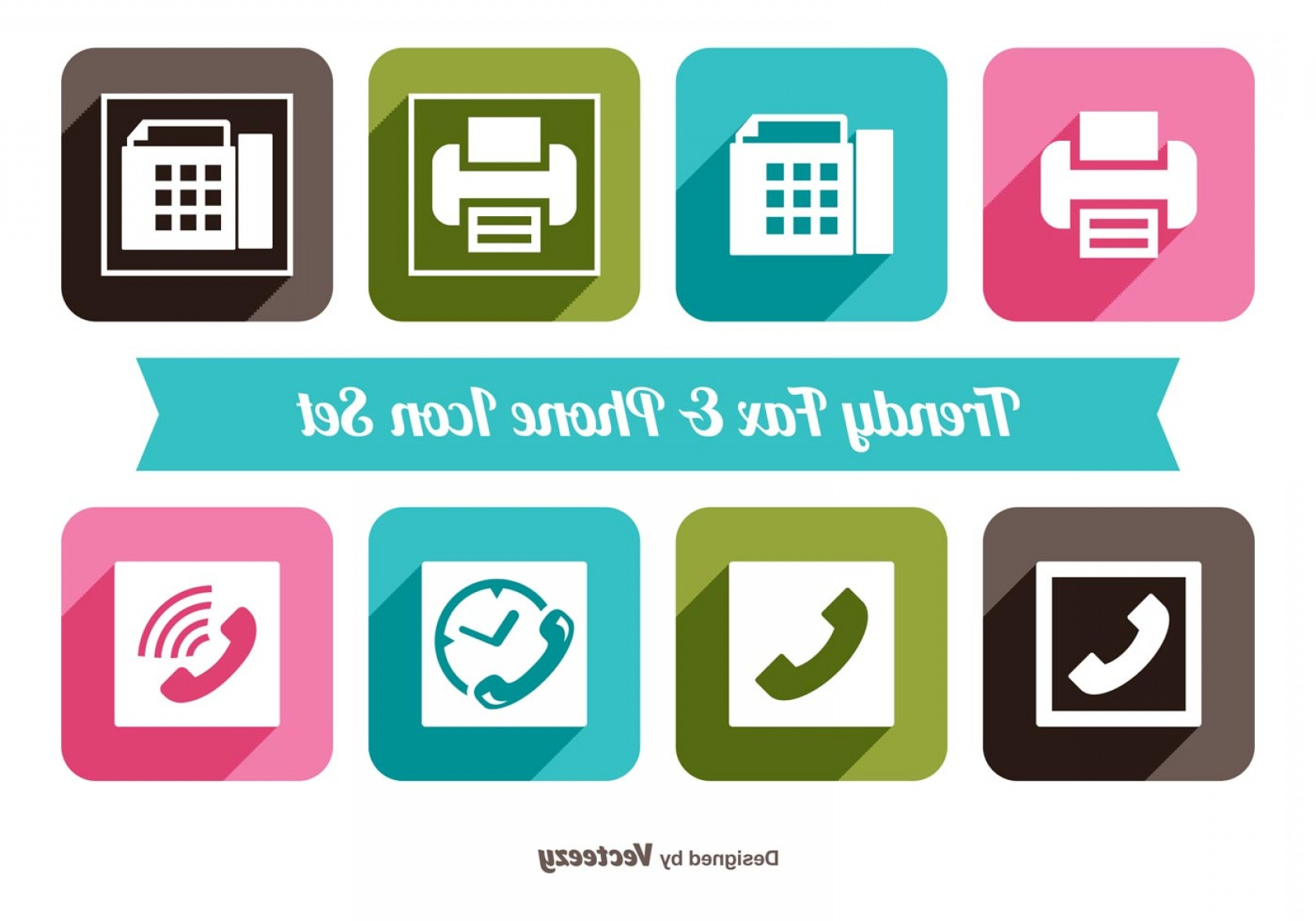 Small Email Icon Vector: Fax And Phone Icon Set