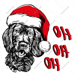 Stocking Hat Vector: Fanciful Dog In Santa Stocking Hat Santa Claus Christmas Vector