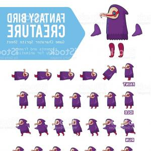 Vector Purple Sprite: Fantasy Bird Creature Game Character Sprite Sheet Vector