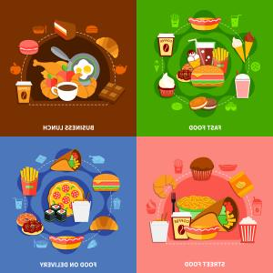 Business Lunch Clip Art Vector: Fast Food Flat Icons Square