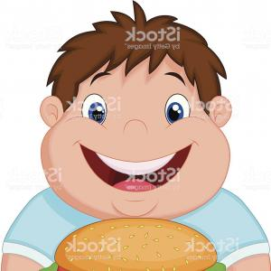 Fat Boy Logo Vector Art: Fat Man With Burger Cartoon Vector Illustration Gm