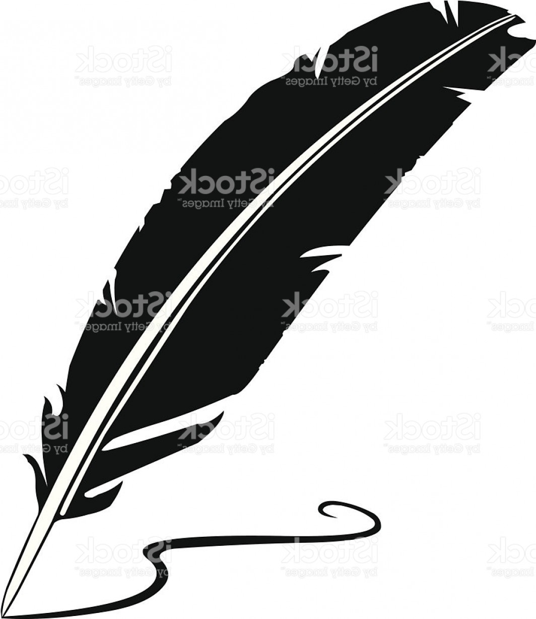 Quill Pen Vector: Feather Quill Silhouette Icon Gm
