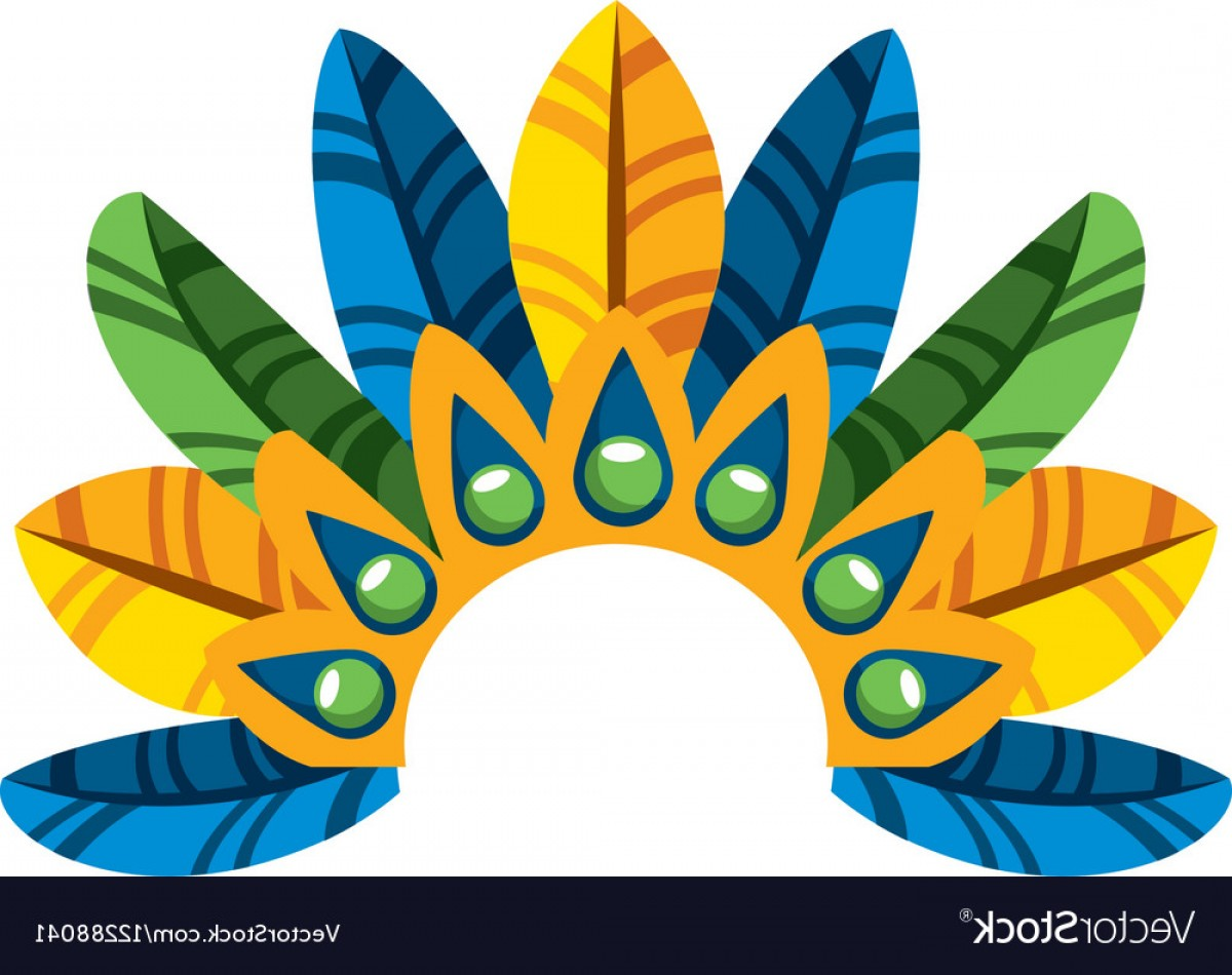 Carnival Vector Feather Art: Feather Tropical Carnival Decoration Vector