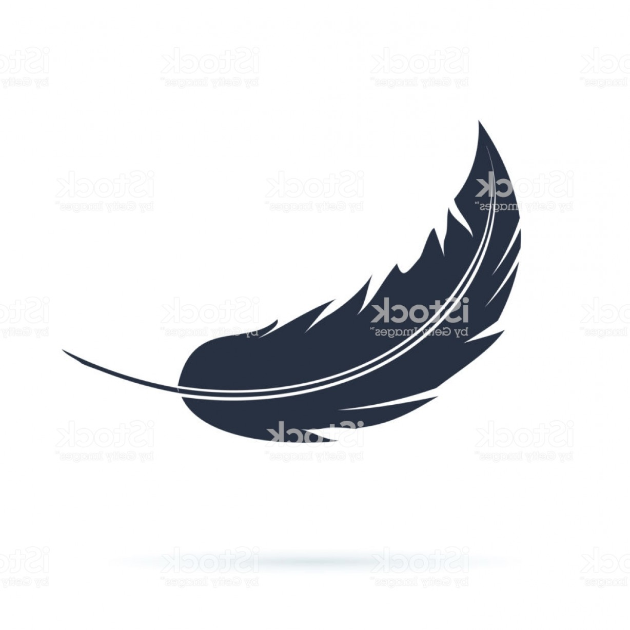 Carnival Vector Feather Art: Feather Vector Silhouette Icon Or Logo Abstract Black Carnival Fluff Flying Soft Or Gm
