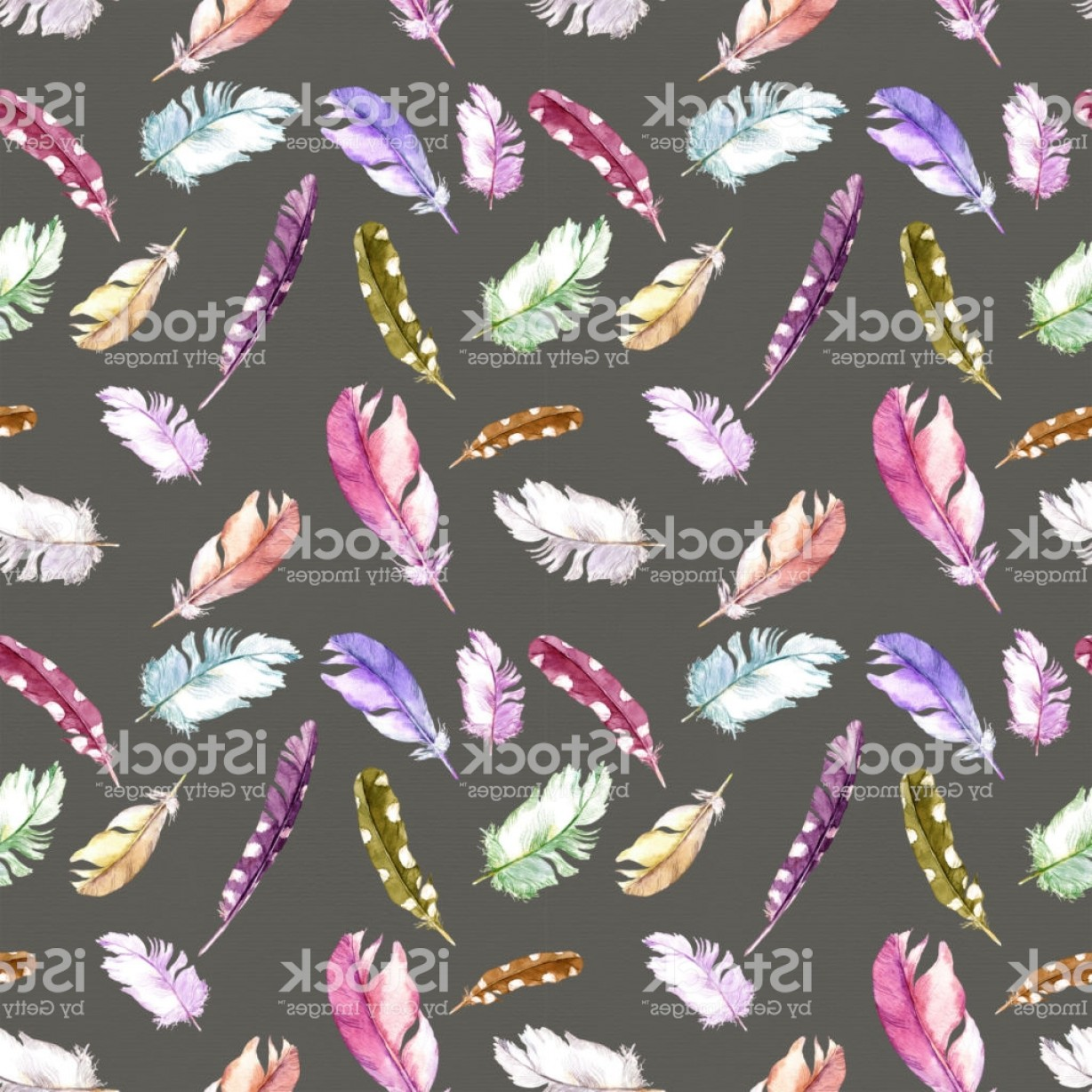 Purple Butterfly Wallpaper Vector: Feathers Pattern For Wallpaper Design Watercolor Seamless Background Gm