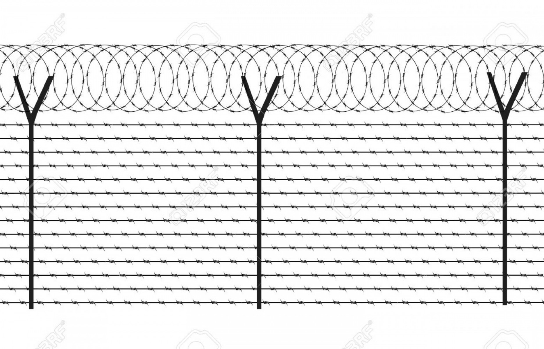 Fence Post Barbed Wire Vector Clip Art: Fencing Element From A Barbed Wire