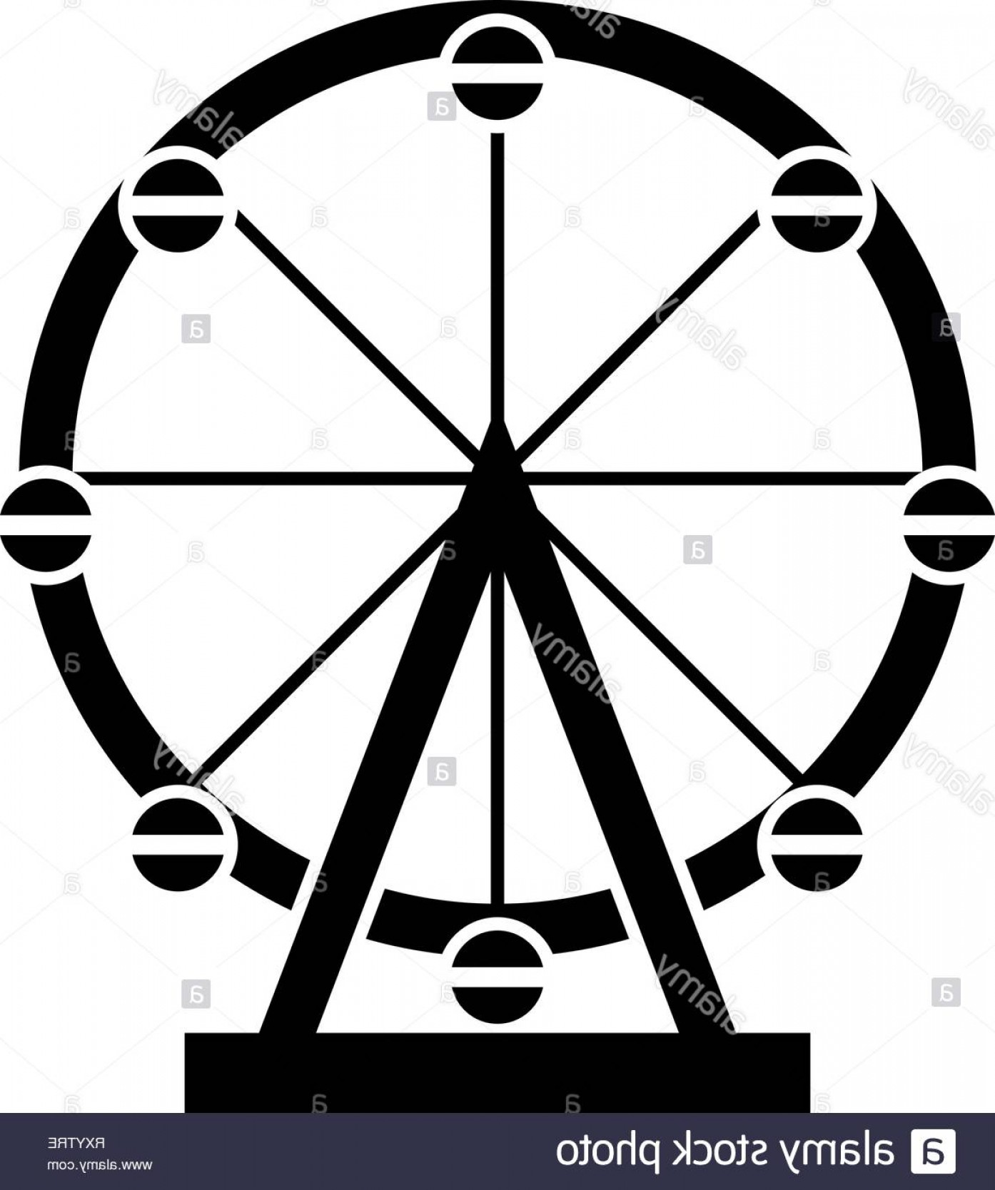 Attraction Icon Vector: Ferris Wheel Amusement In Park On Attraction Icon Black Color Vector Illustration Flat Style Simple Image Image