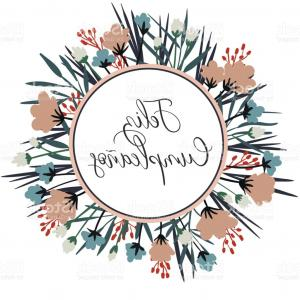 Floral Vector Calligraphy: Autumn Calligraphy With Flowers And Leaves Gm