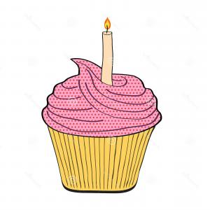 Birthday Cupcake Vector: Festive Birthday Cupcake Candle White Stock Vector Illu Illustration Image