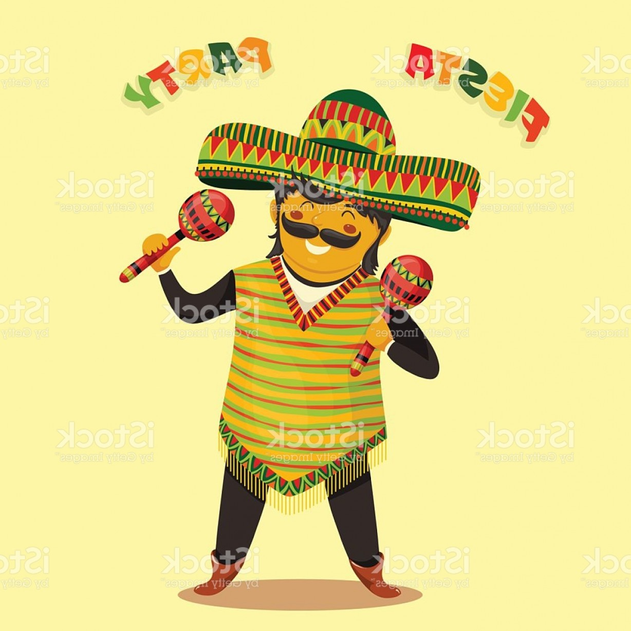 Fiesta Mexico Vector: Fiesta Party Invitation With Mexican Man Playing Maracas In Sombrero Gm