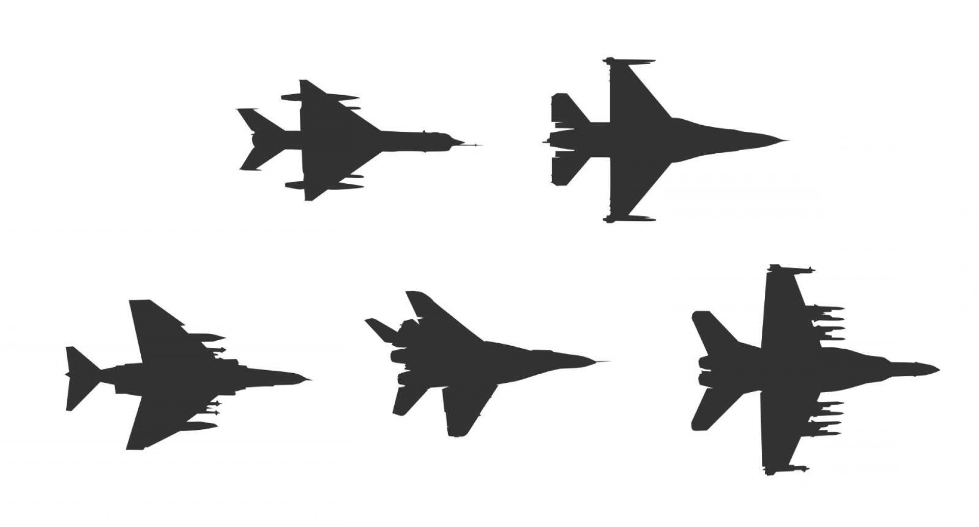 Vector Jet Fighter: Fighter Plane Top View Silhouette Vector Eps Svg