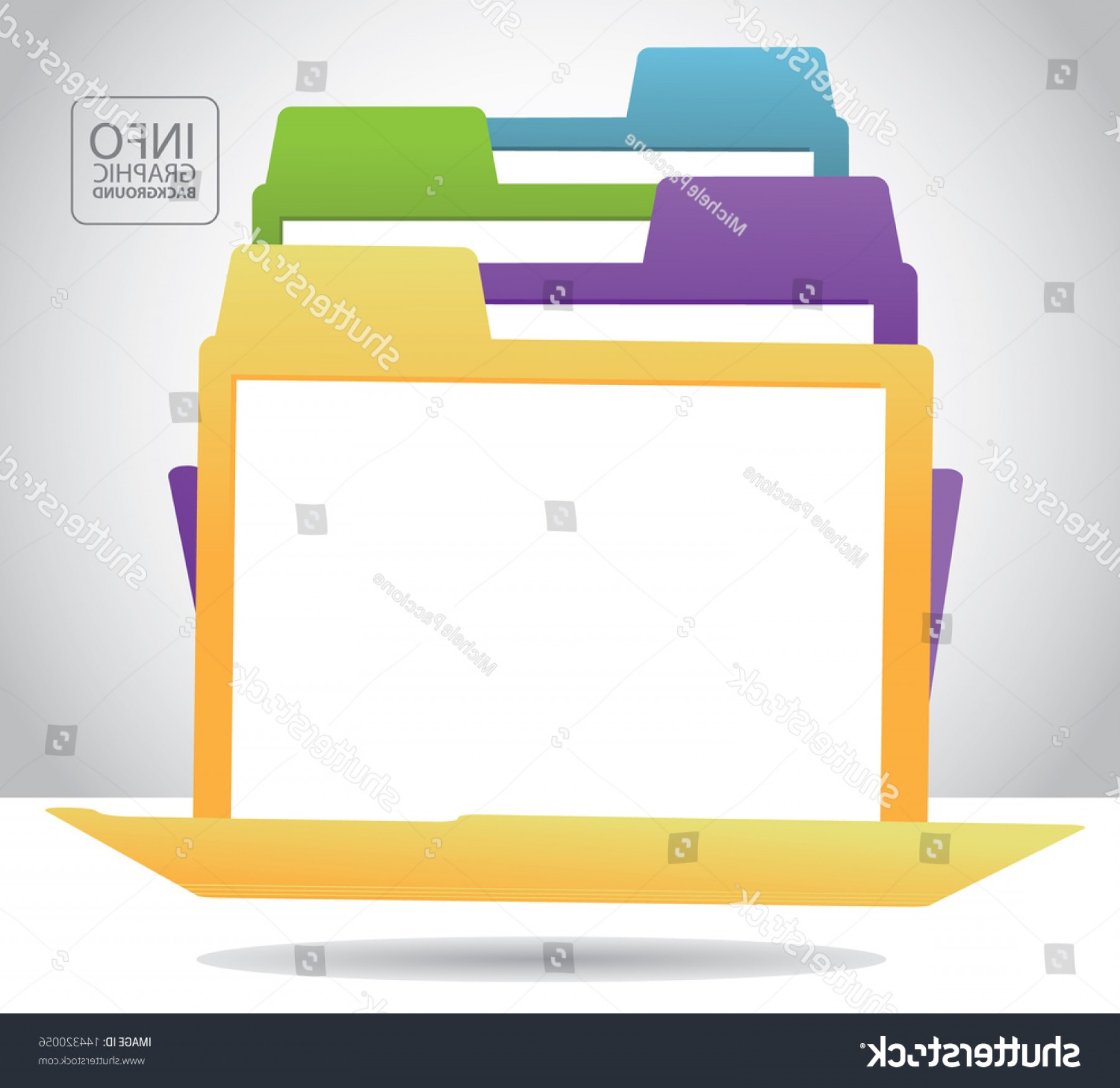 Folder Tab Vectors: File Folder Infographic Background Template Layout