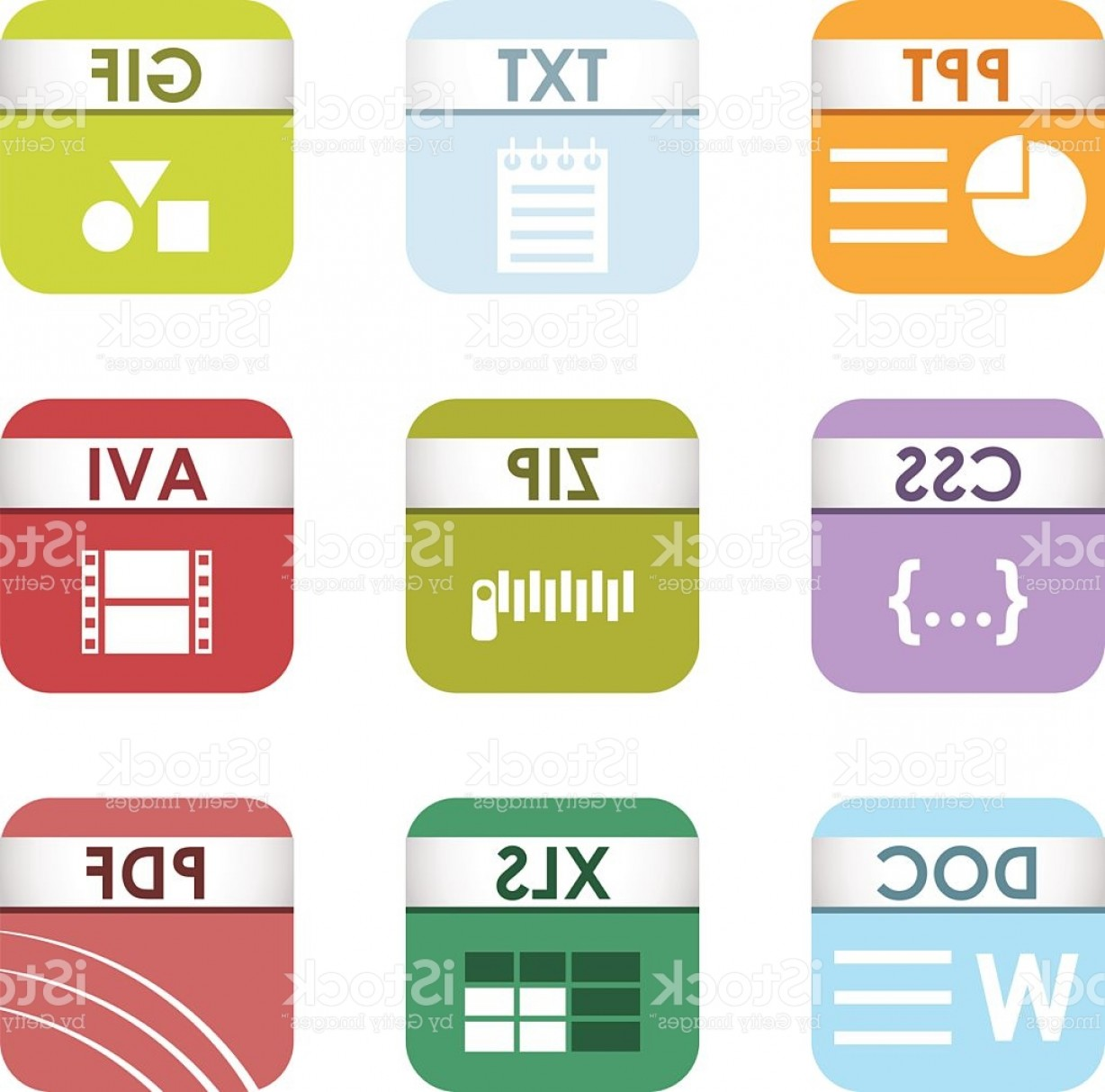 Free Vector File Software: File Type Icons Vector Set Gm