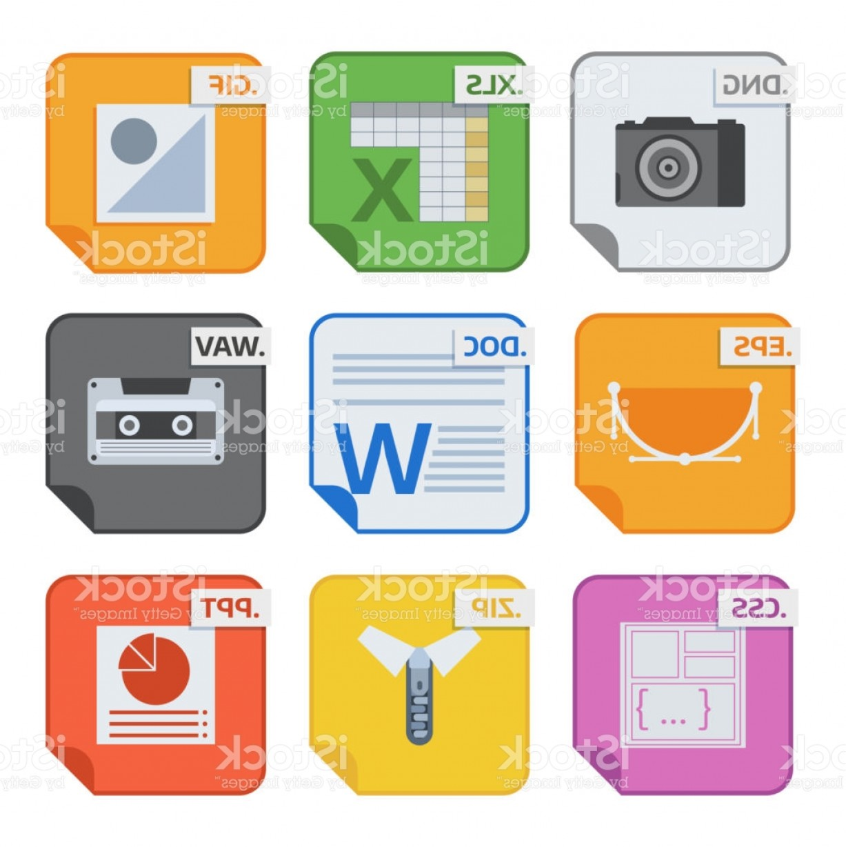Free Vector File Software: File Types Vector Icons And Formats Labels File System Icons Presentation Document Gm