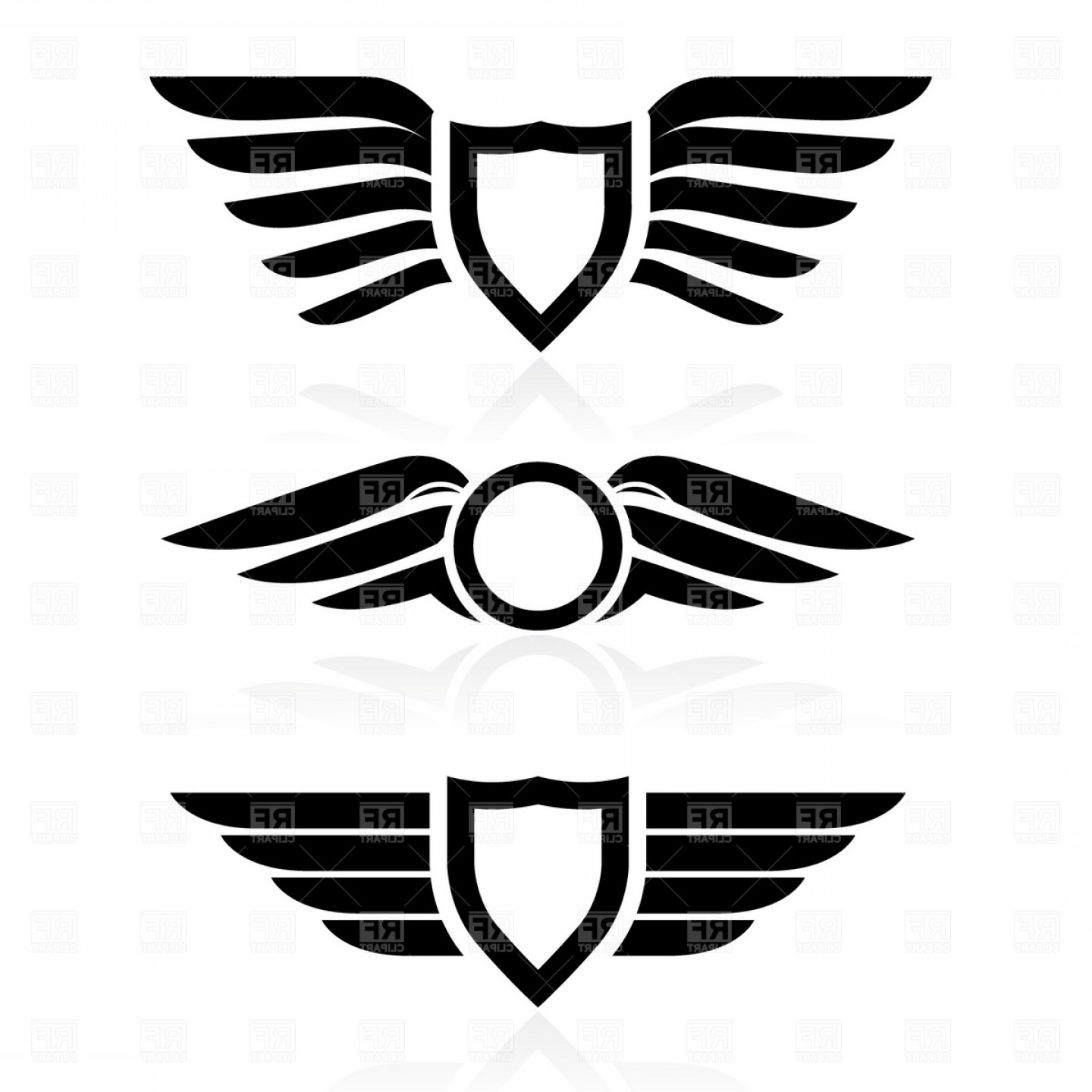 Free Vector Download Sites: Fileshield With Wings Symbol Download Royalty Free Vector File Eps