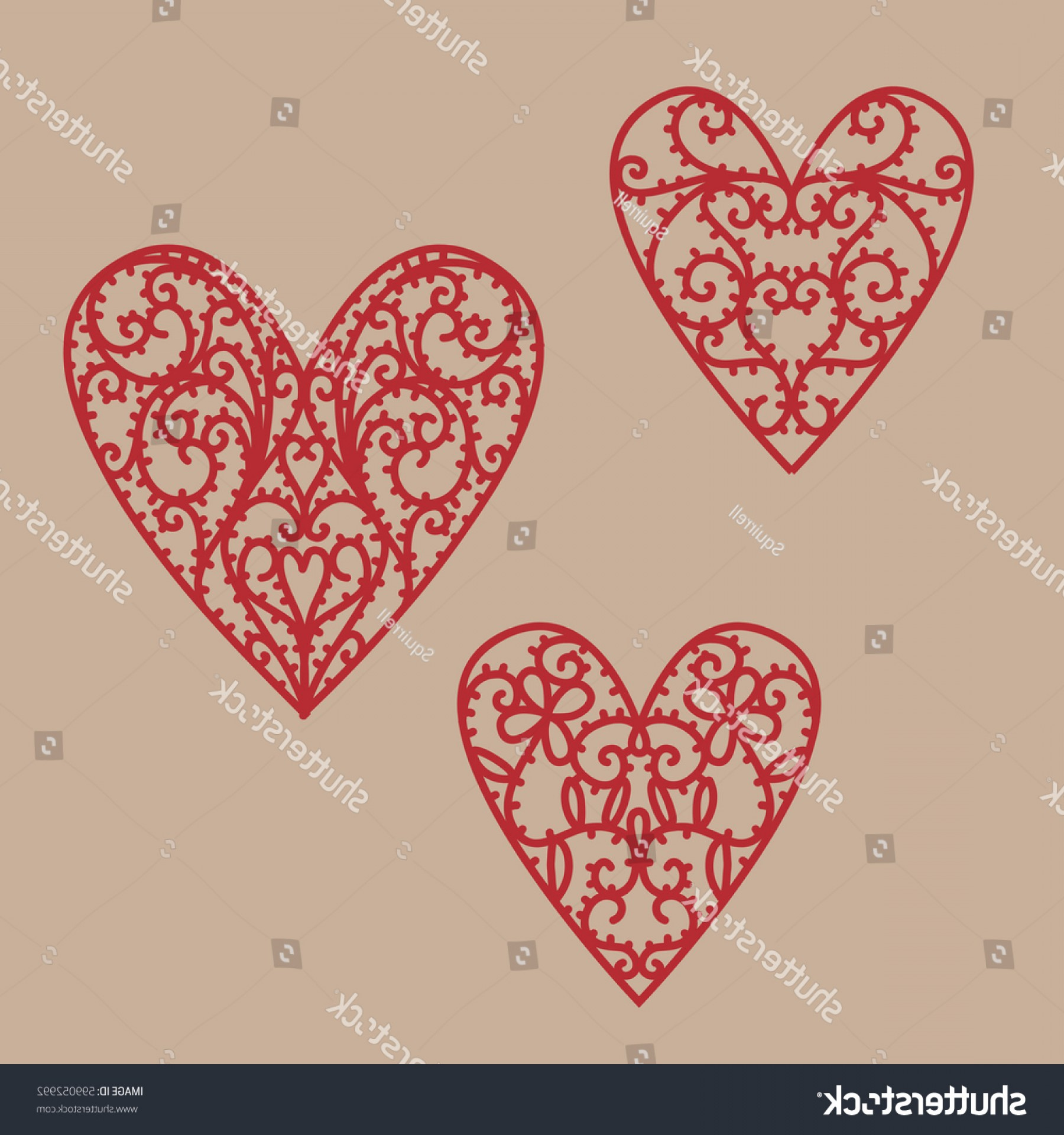 Vector Filigree Heart: Filigree Hearts Vector Drawing Doodle