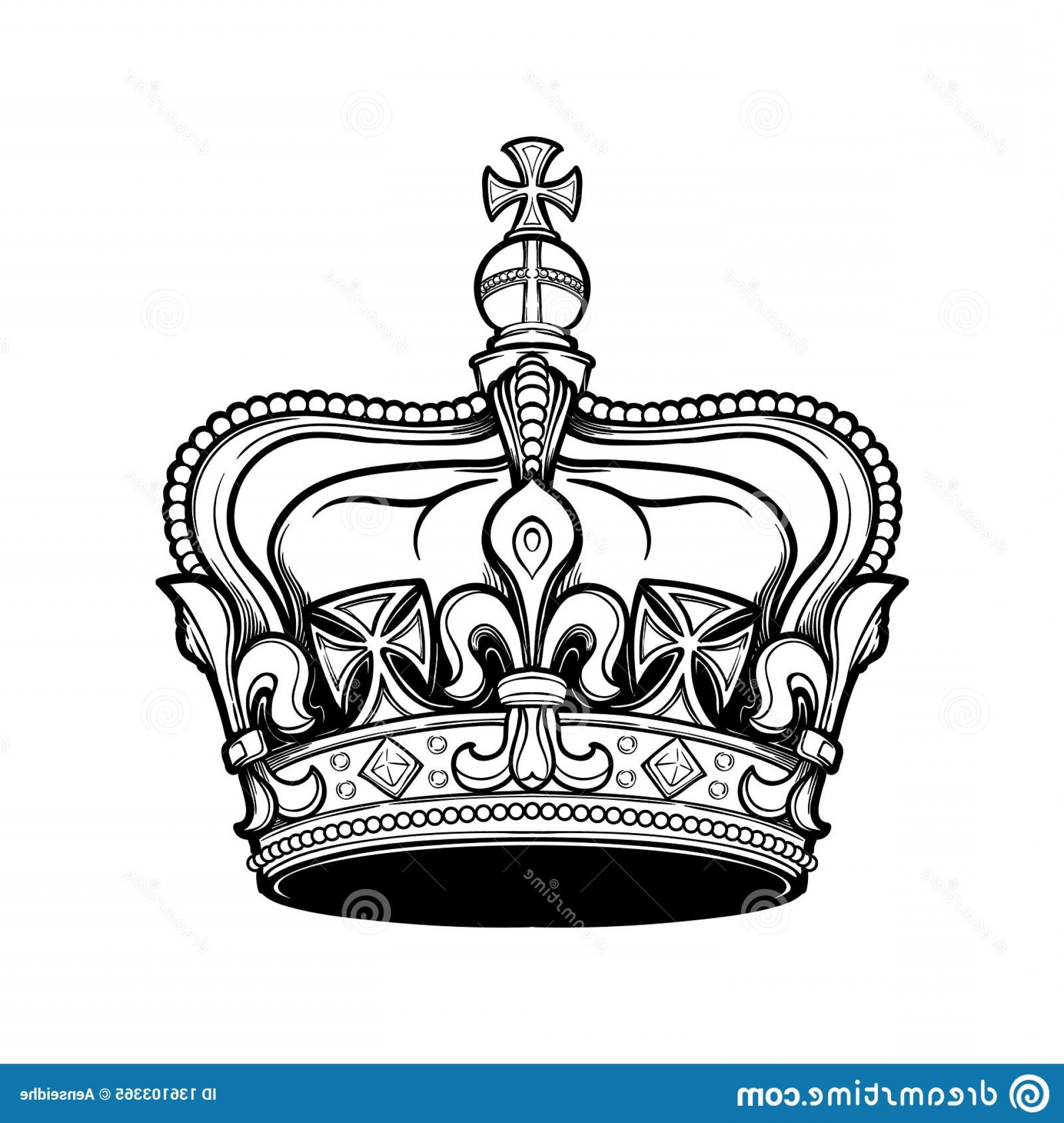 Detailed Tattoo Vector Images: Filigree High Detailed British Imperial Crown Element Design Logo Emblem Tattoo Vector Illustration Isolated Filigree High Image