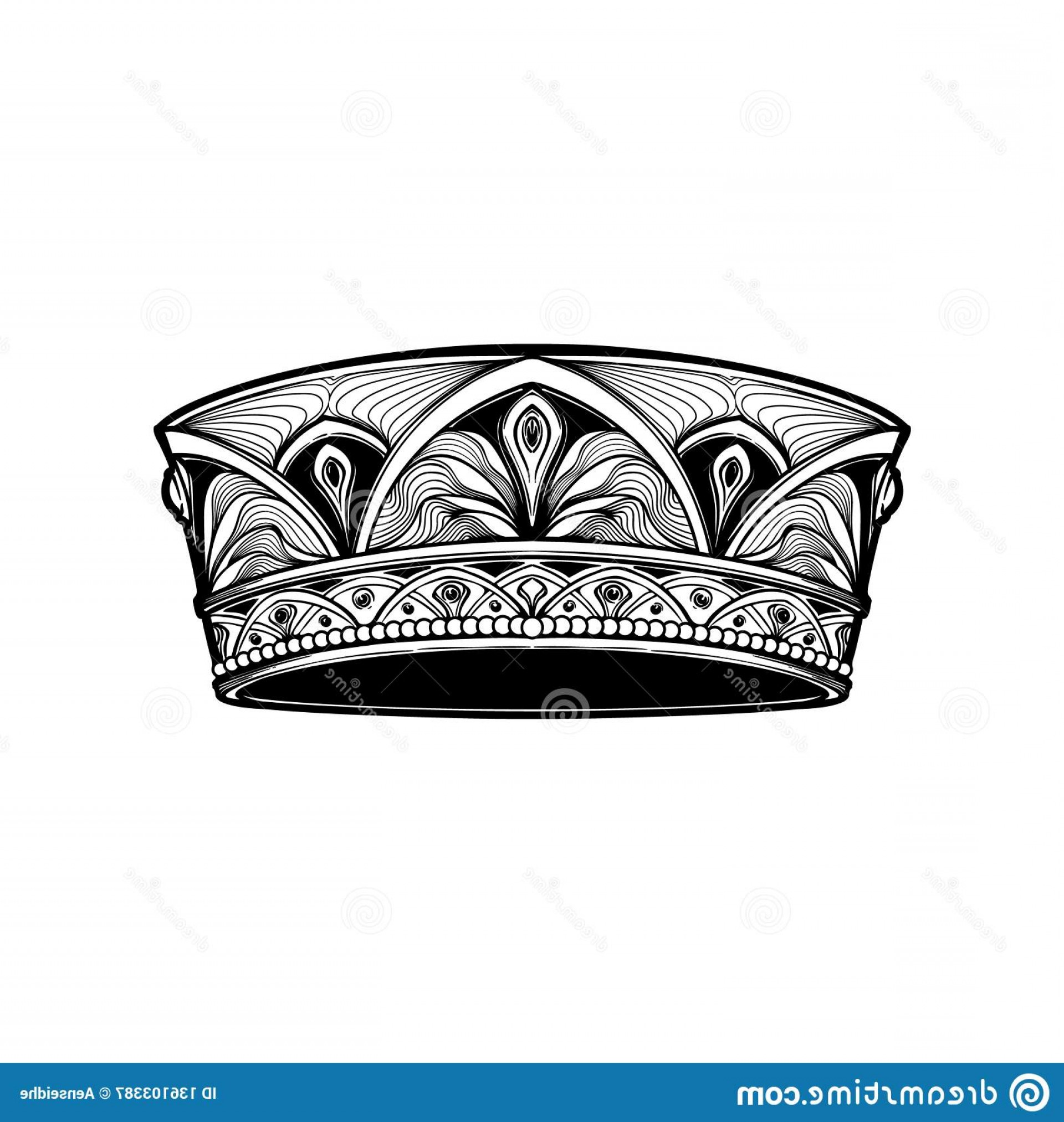 Detailed Tattoo Vector Images: Filigree High Detailed Crown Element Design Logo Emblem Tattoo Vector Illustration Isolated White Background Coloring Image
