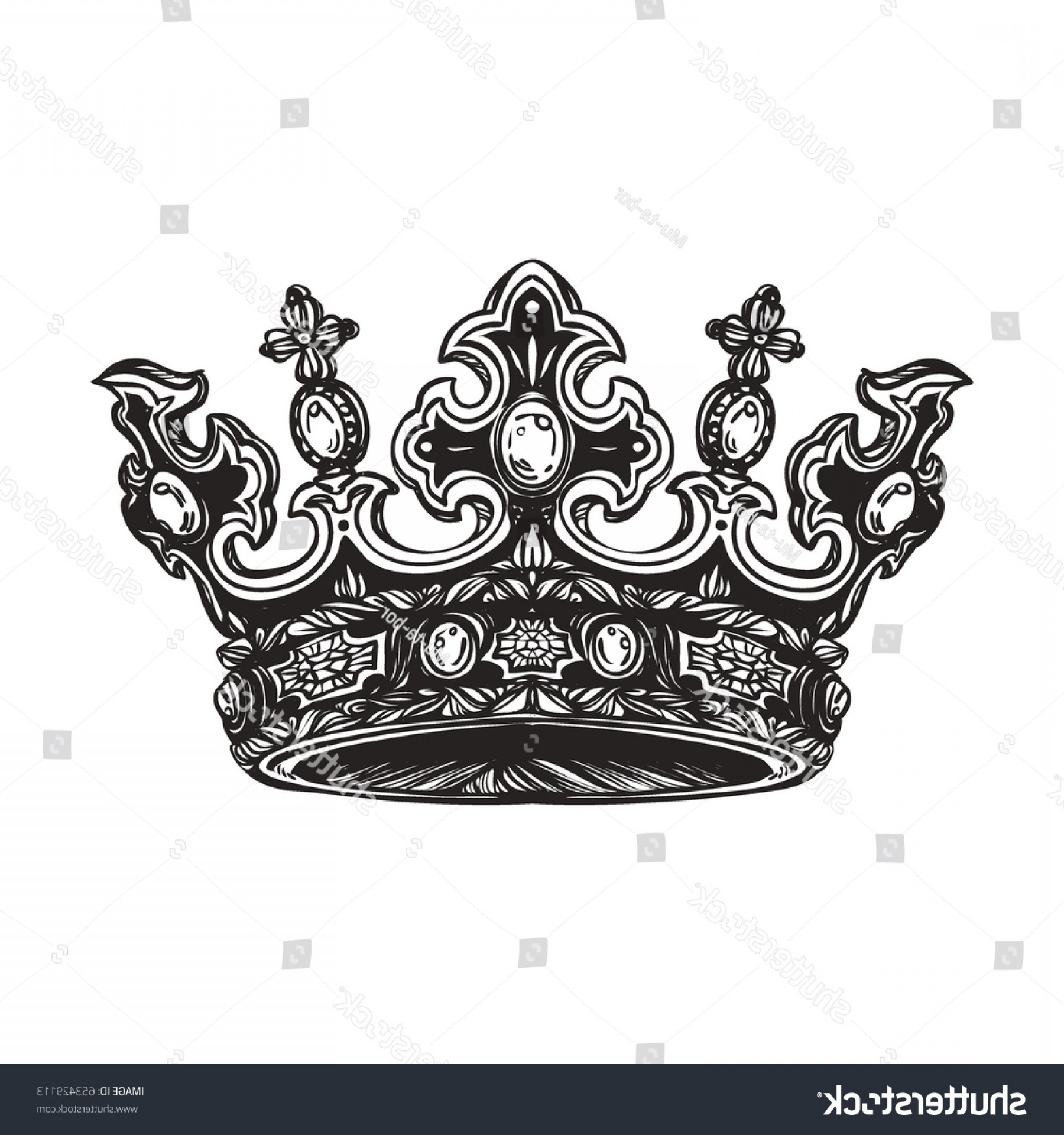 Detailed Tattoo Vector Images: Filigree High Detailed Imperial Crown Element
