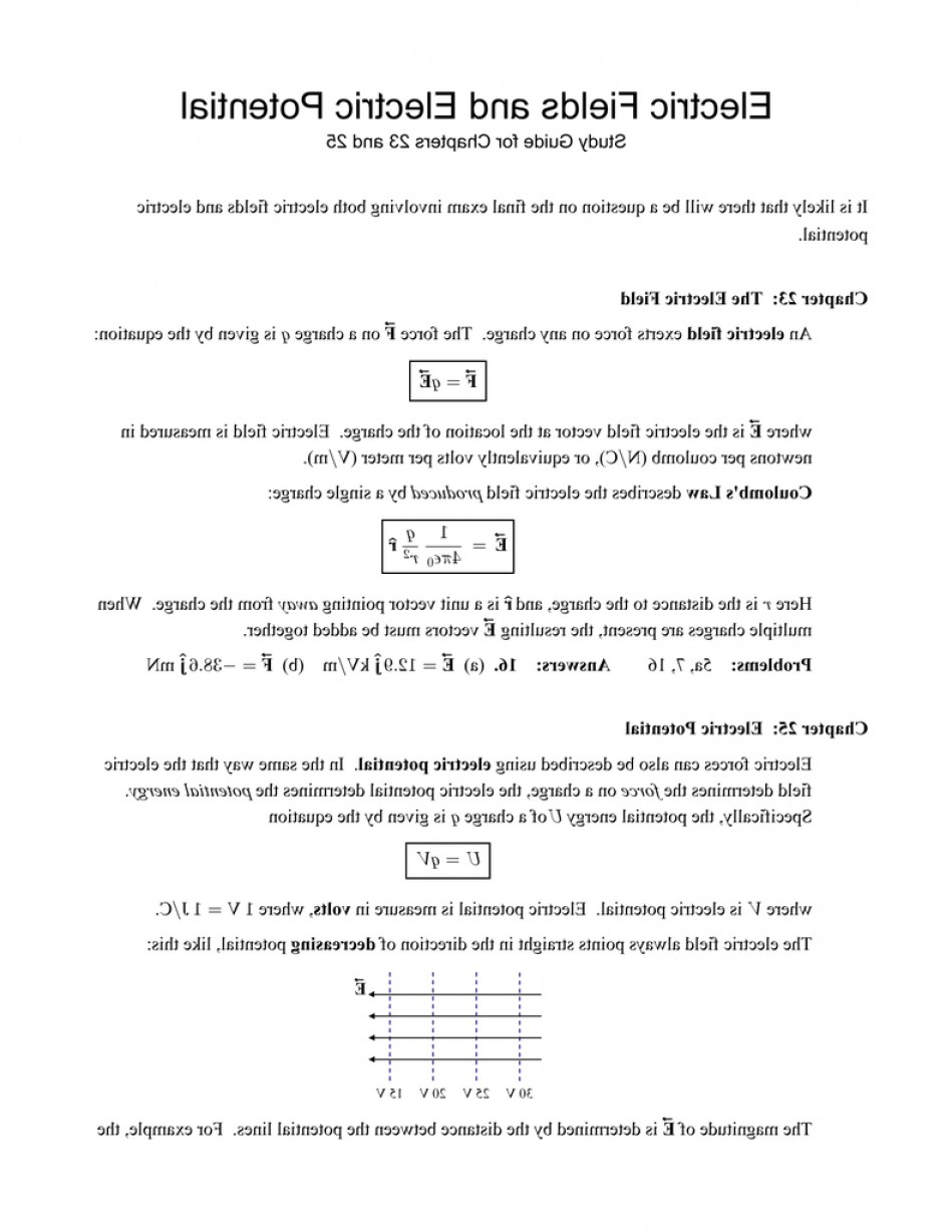 Electric Potential Is A Vector: Final Exam Study Guide Electric Fields And Electric P