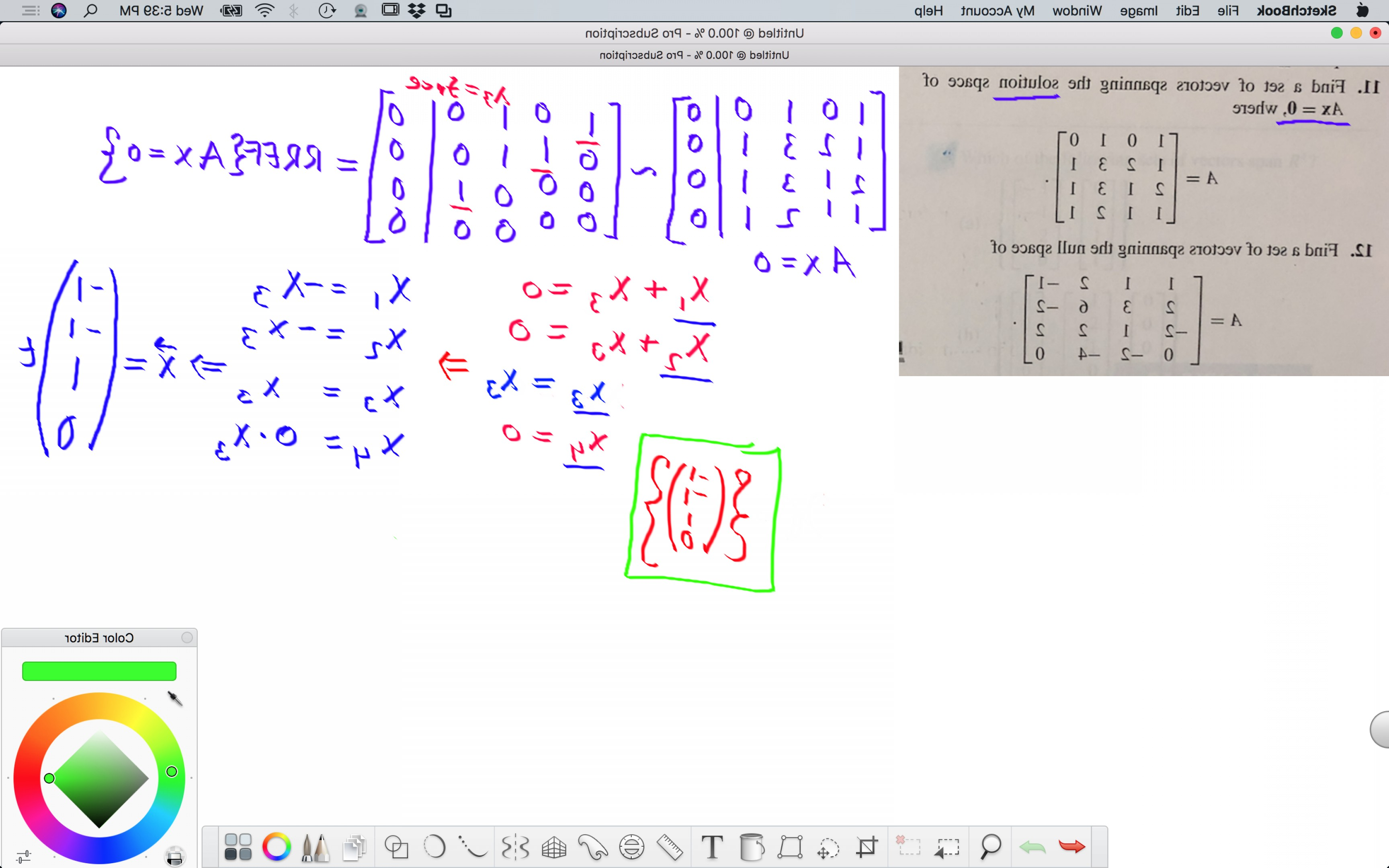 Find Vectors: Find A Set Of Vectors Spanning The Solution Space Of Ax Where