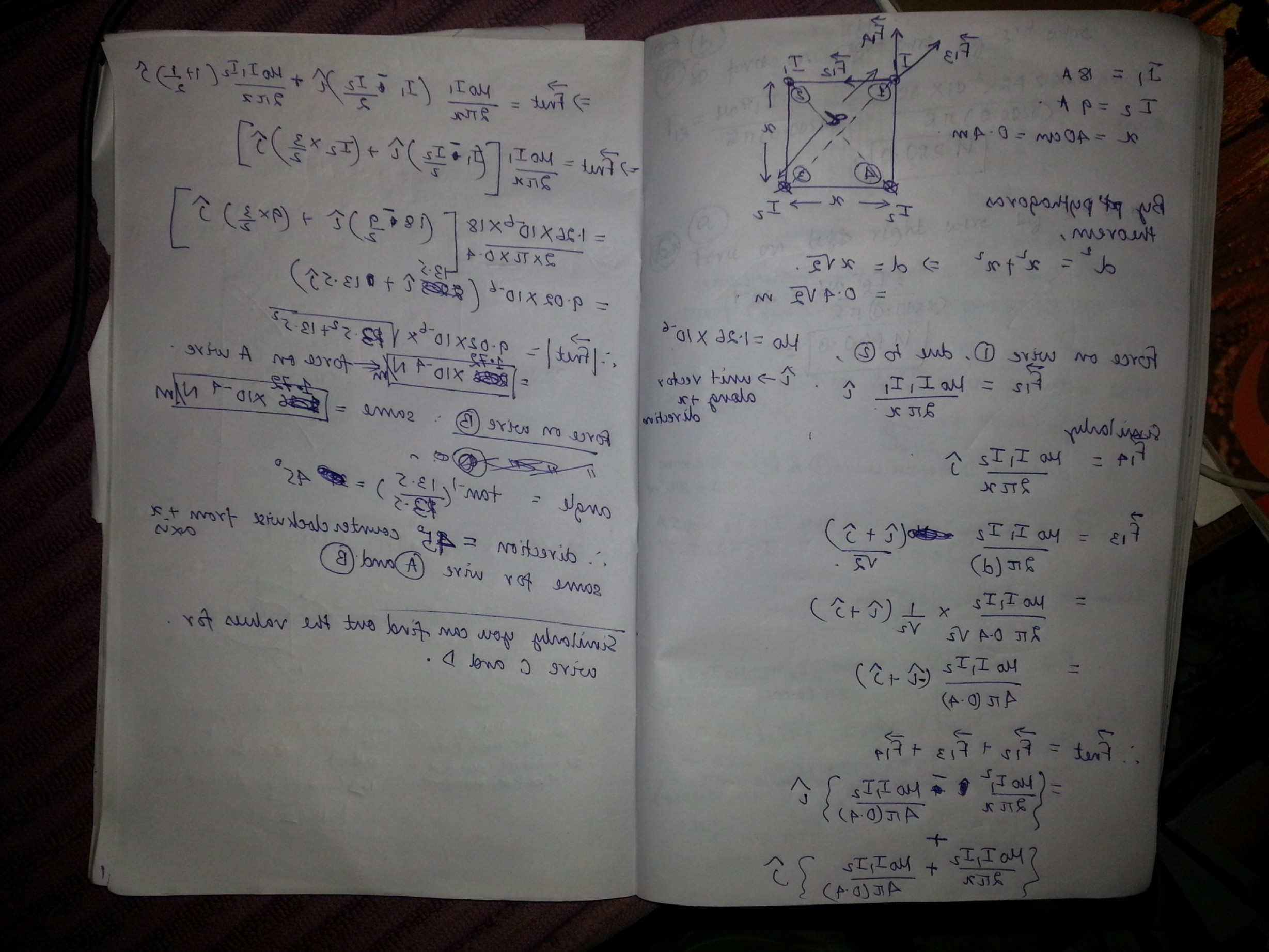 Vector Addition By Pythagoras Picture: Find Magnitude Direction Force Per Unit Length Wire Experiences Figure B Using Vector Q