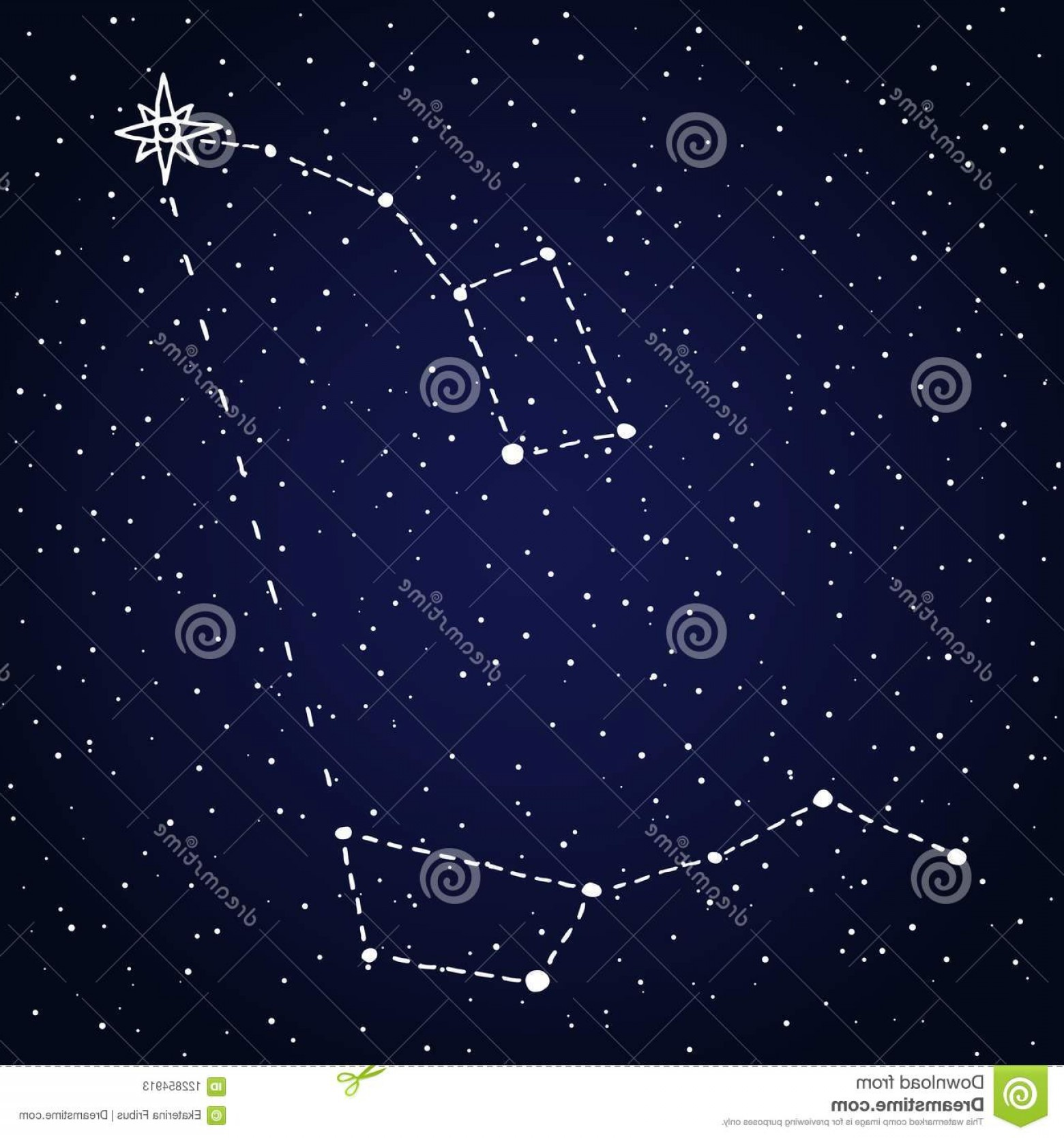 Polaris Star Logo Vector: Finding North Star Polaris Starry Night Sky Ursa Major Minor Constellations Little Dipper Big Space Astronomical Design Image