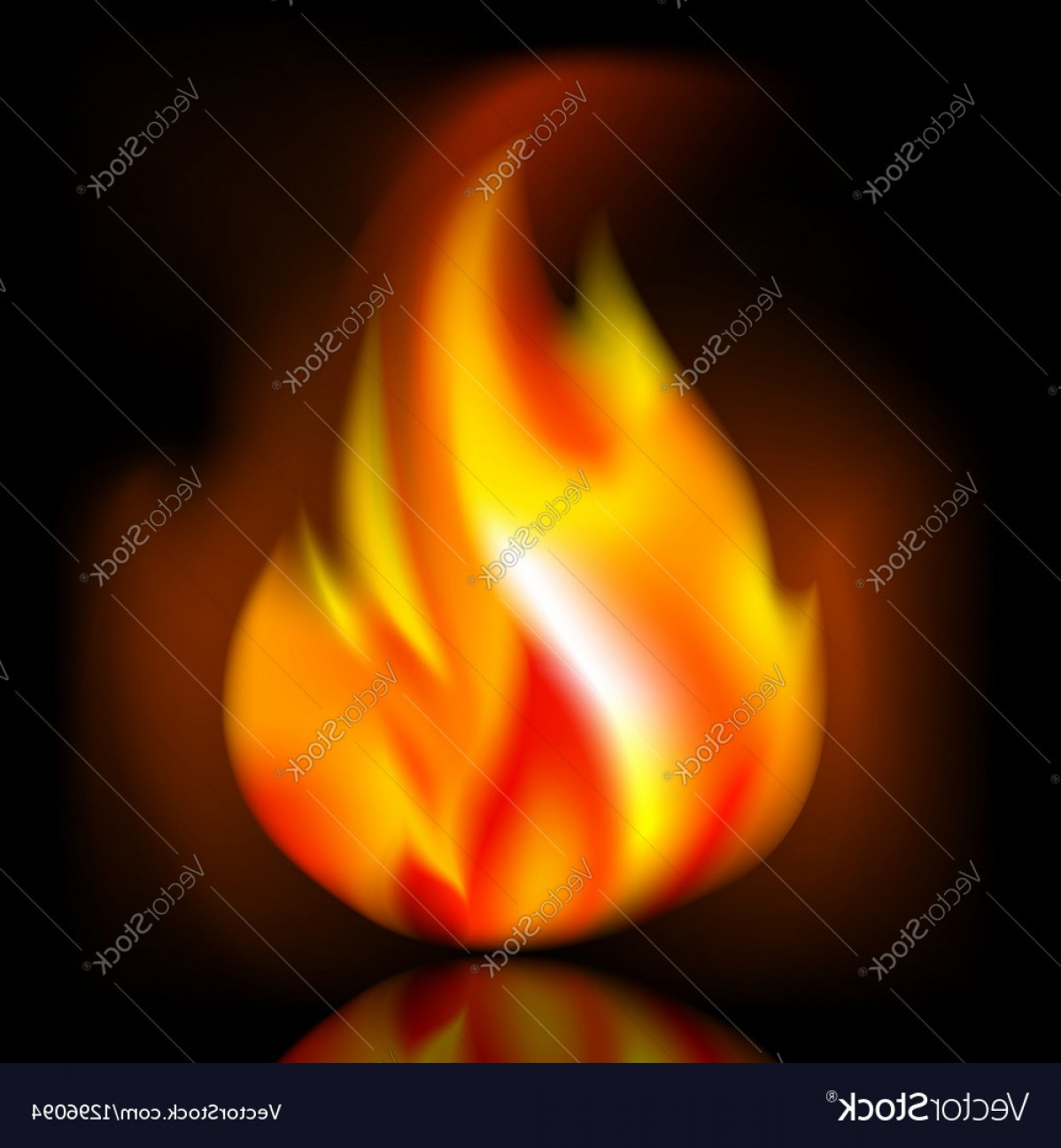 Vector Flame Stick Pattern: Fire Bright Flame On Dark Background Vector