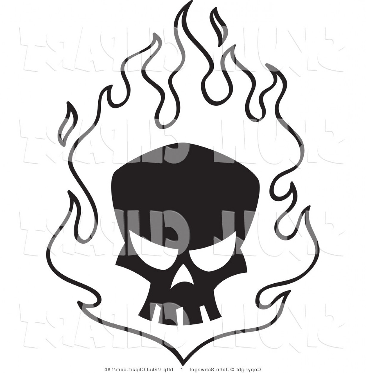 Fire Clip Art Vector: Fire Clipart Black And White Flame Vector Clip Art Of A Silhouetted Skull In Flames