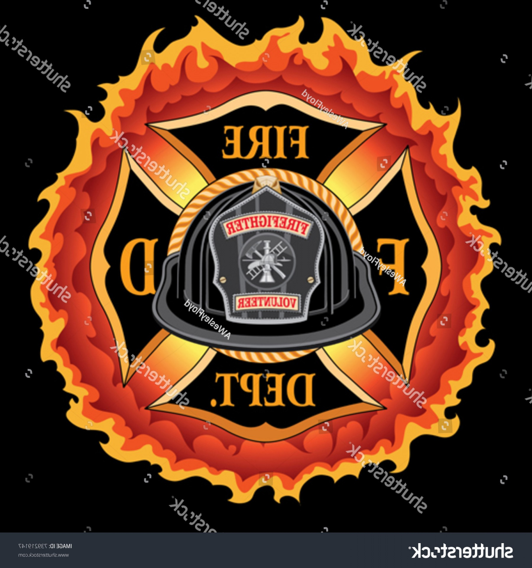 Fire Maltese Vector: Fire Department Cross Vintage Black Helmet