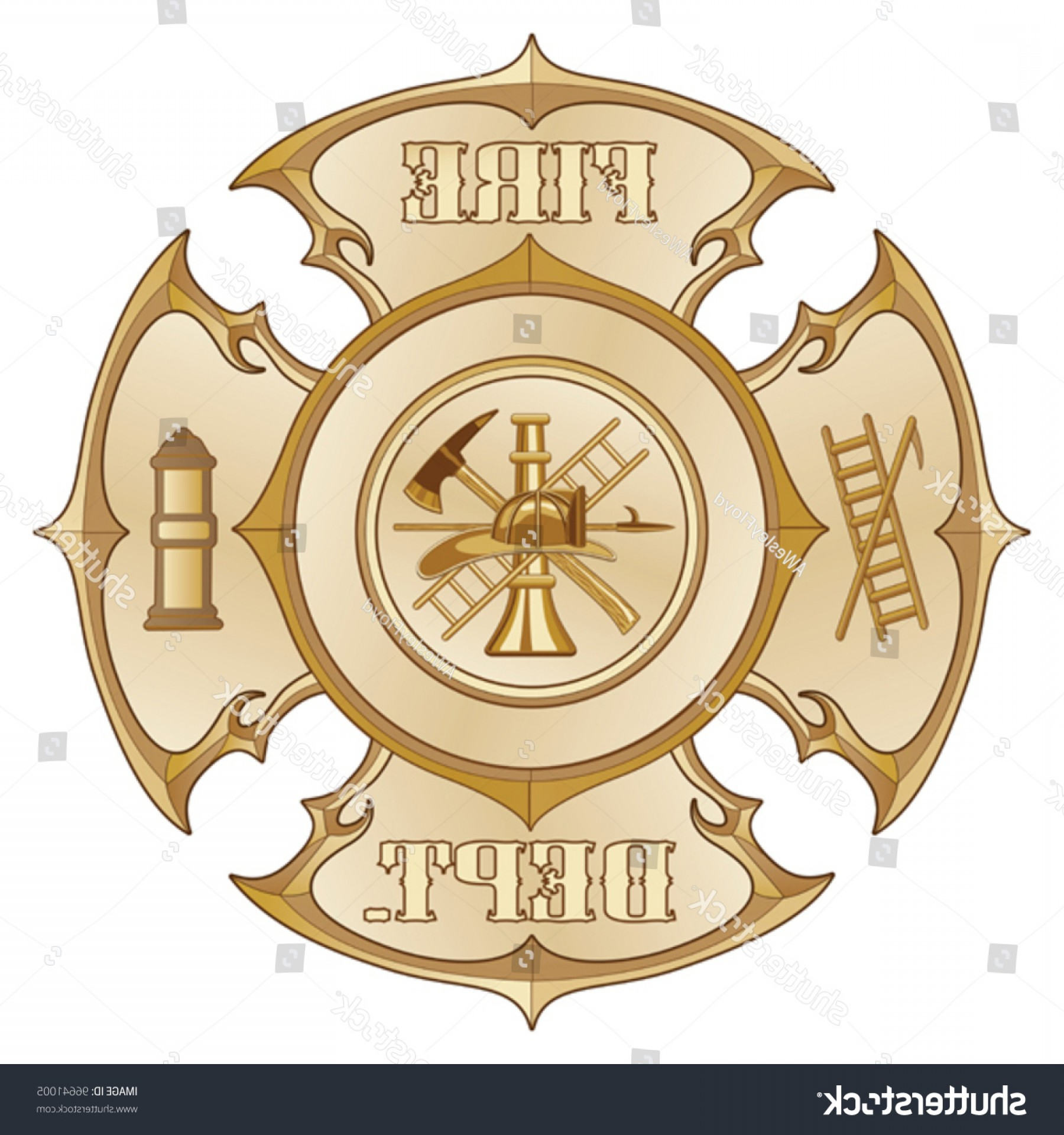 Fire Maltese Vector: Fire Department Cross Vintage Gold Illustration