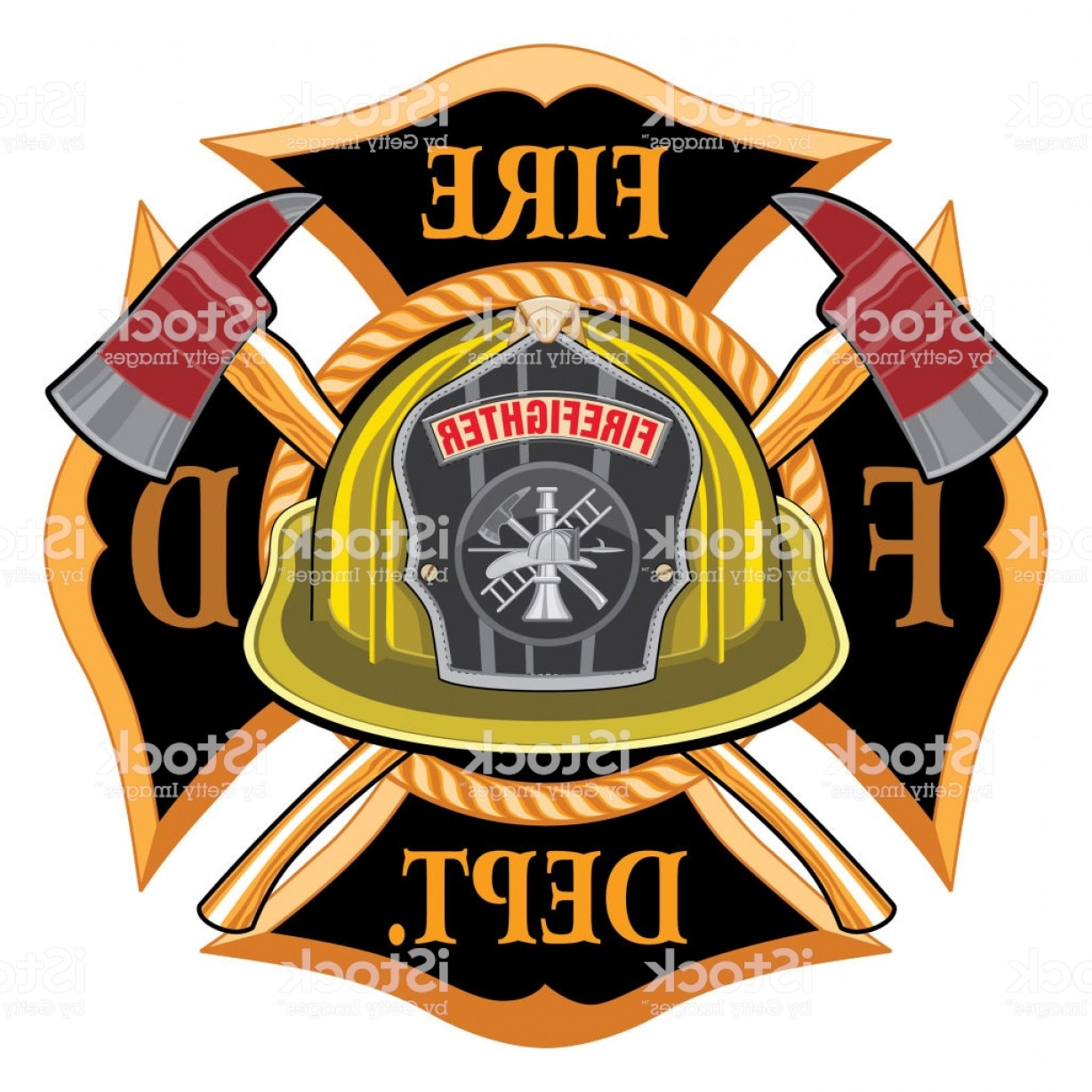 Fire Fighter Logo Vector: Fire Department Cross Vintage With Yellow Helmet And Axes Gm