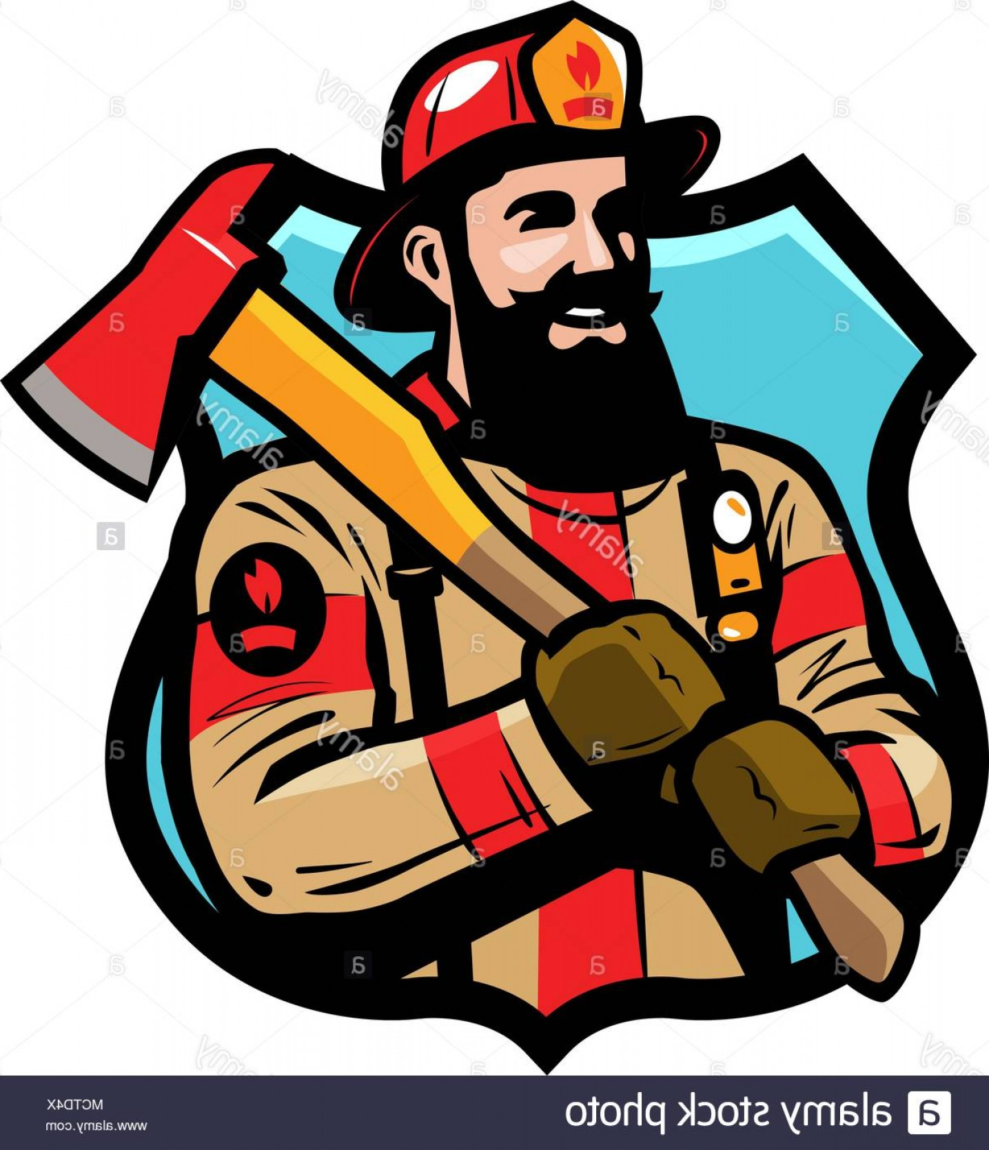 Fire Fighter Logo Vector: Fire Department Logo Or Label Firefighter Fireman In Helmet Holds An Ax In His Hands Cartoon Vector Image