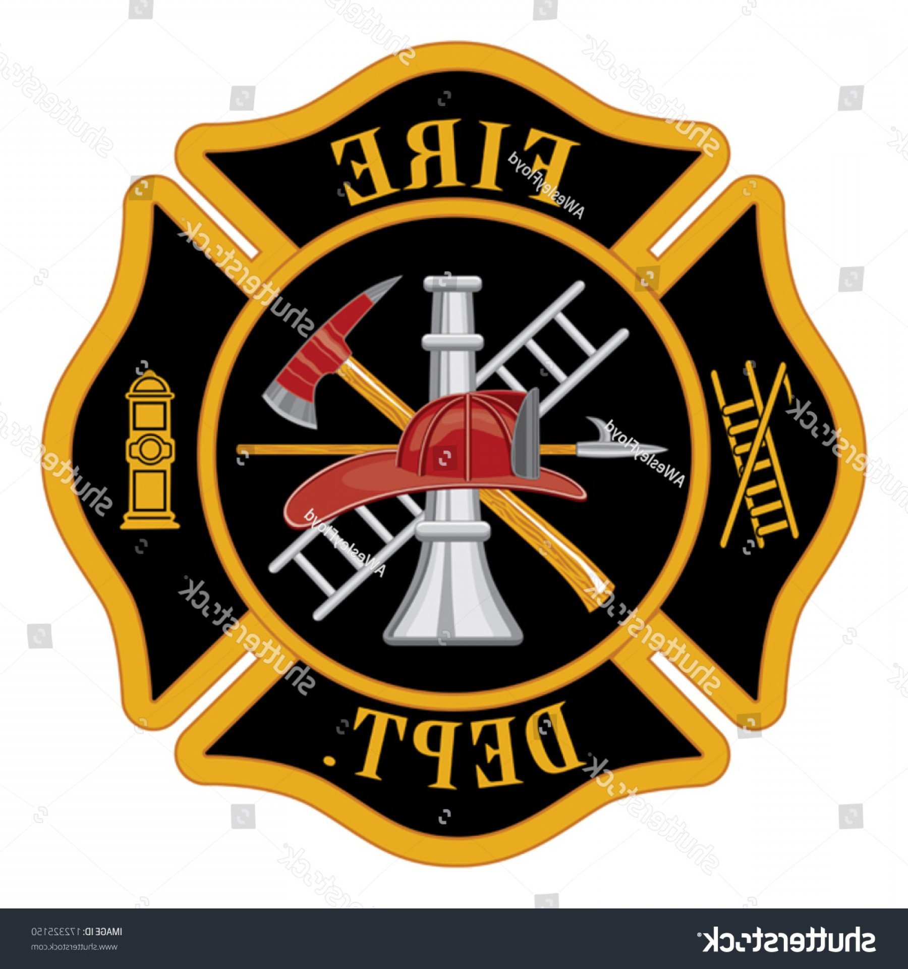 Fire Maltese Vector: Fire Department Maltese Cross Symbol Illustration
