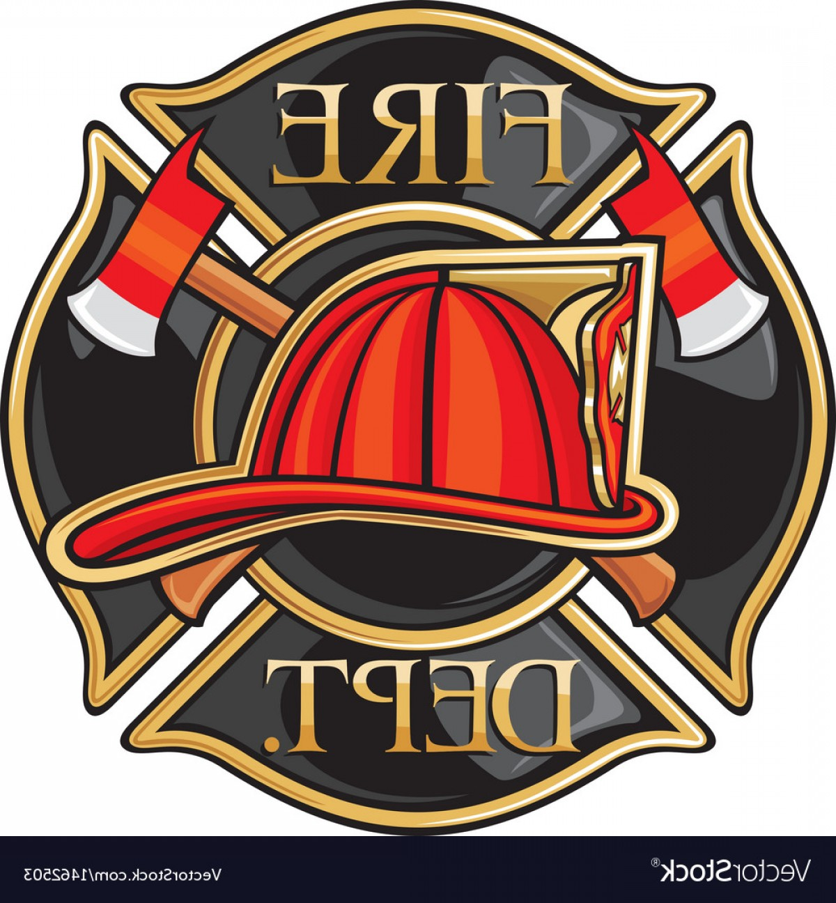 Fire Maltese Vector: Fire Department Or Firefighters Maltese Cross Symb Vector