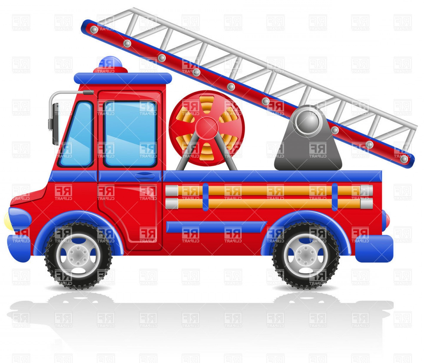 Fire Truck Vector Art: Fire Escape Truck Vector Clipart
