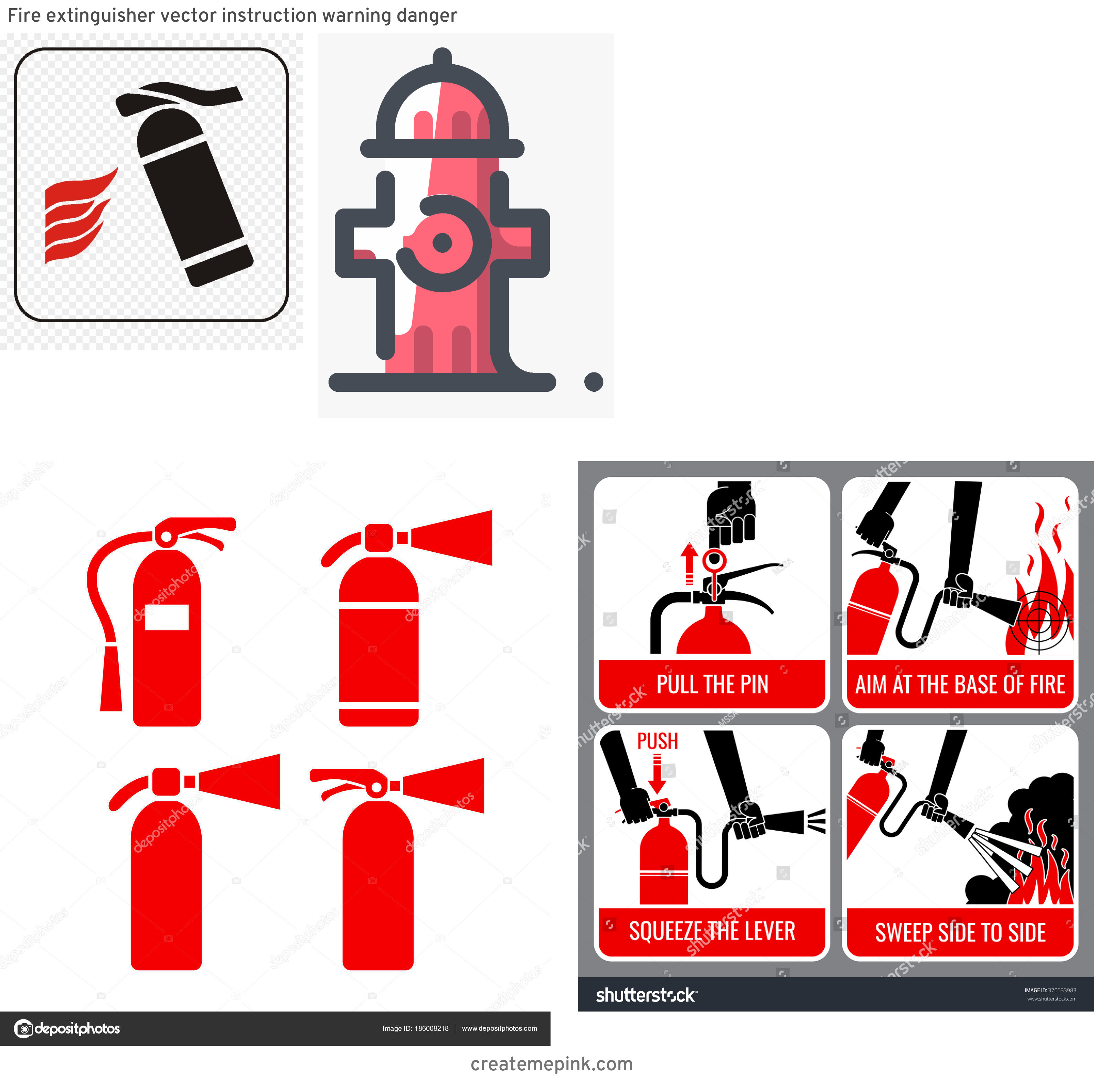 Fire Hydrant Vector Clip Art: Fire Extinguisher Vector Instruction Warning Danger