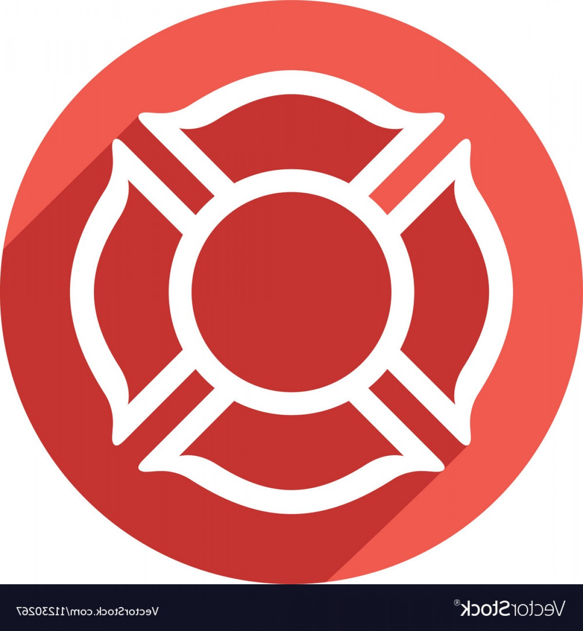 Fire Maltese Vector: Fire Fighters Maltese Cross Symbol Icon Vector