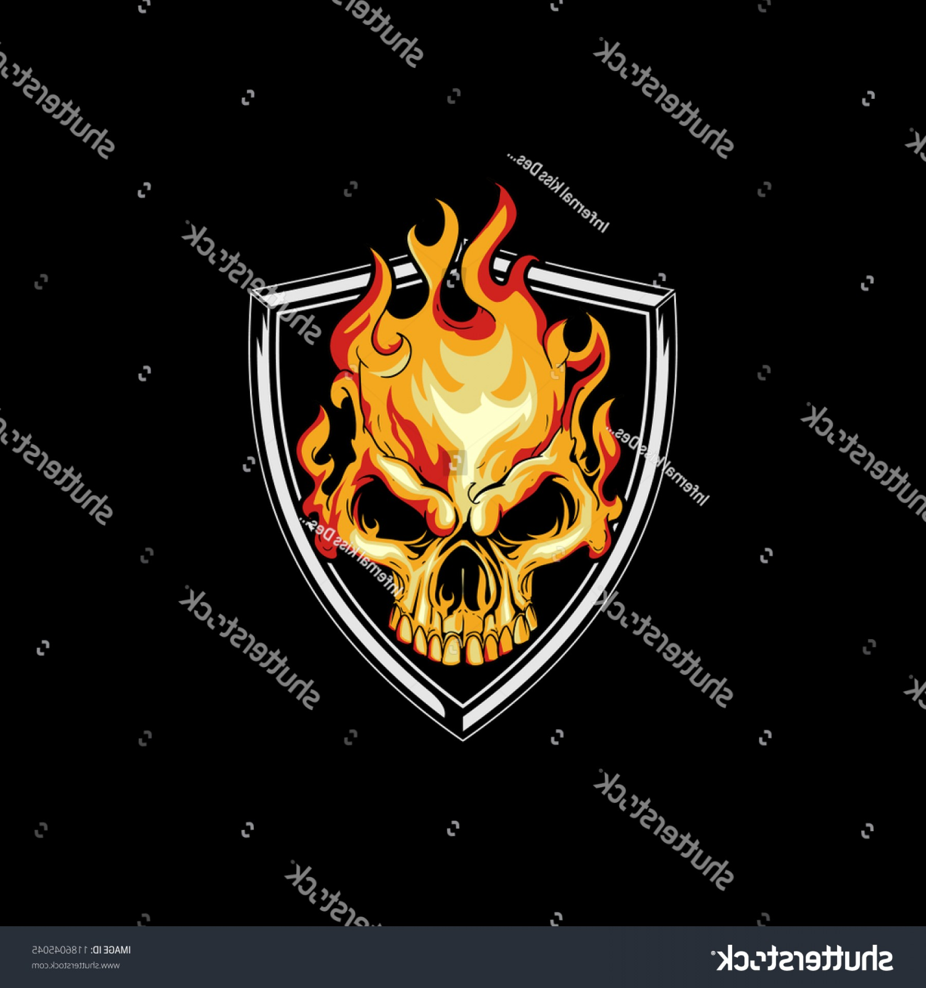 Harley-Davidson Flame Vector Silhouette: Fire Skull Head Shield Badge Logo