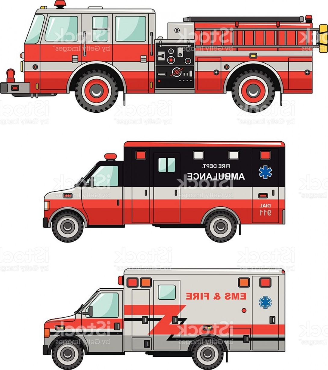 Fire Truck Vector Art: Fire Truck And Ambulance Cars Isolated On White Background Gm