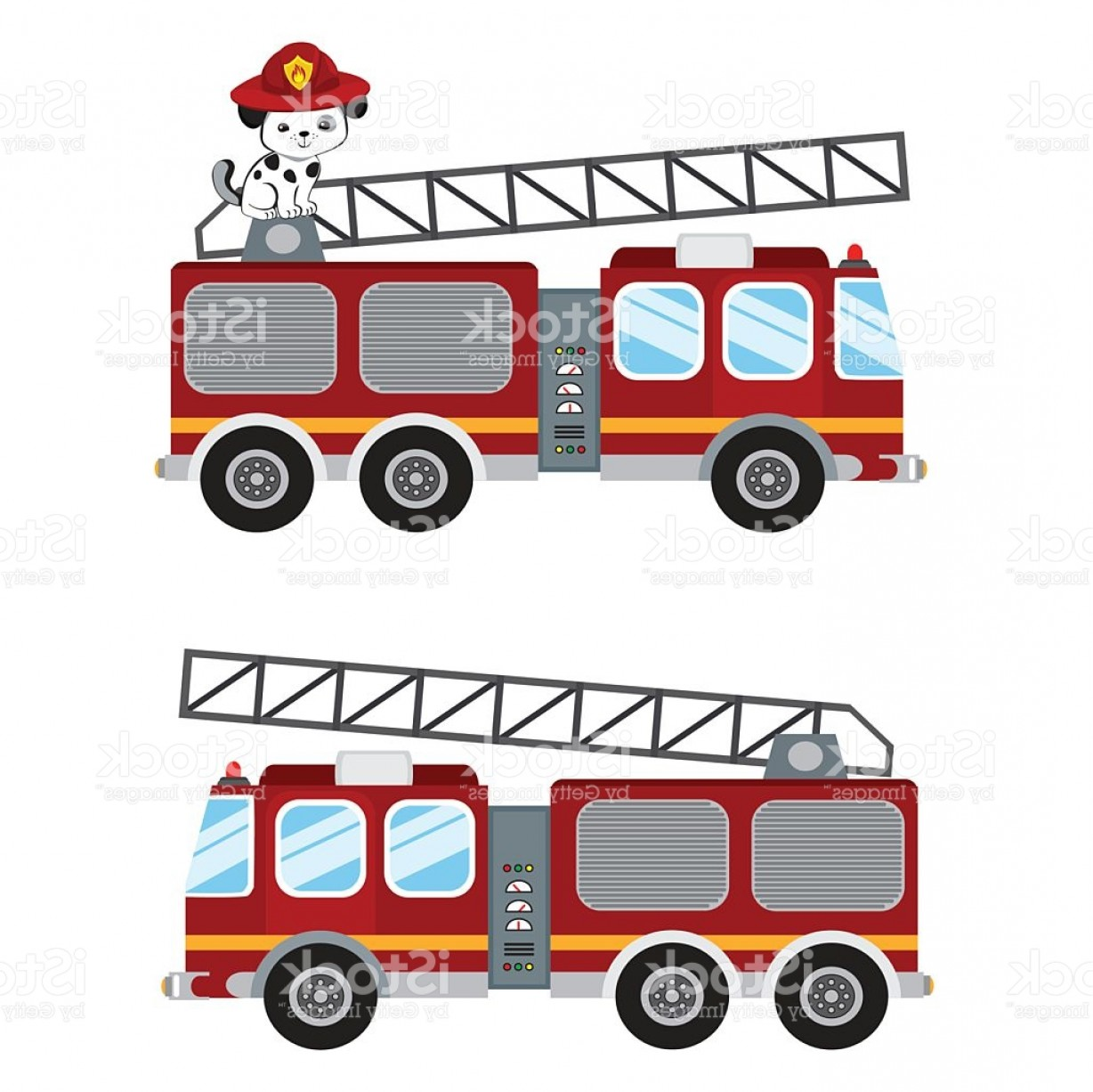 Fire Truck Vector Art: Fire Truck Cartoon Illustration And Cute Puppy Firefighter Gm