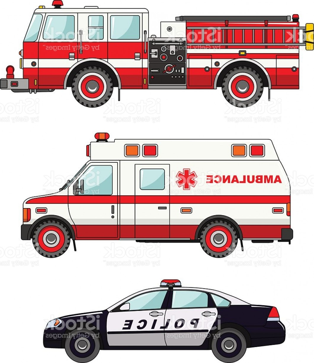 Fire Truck Vector Art: Fire Truck Police And Ambulance Cars Isolated On White Background Gm