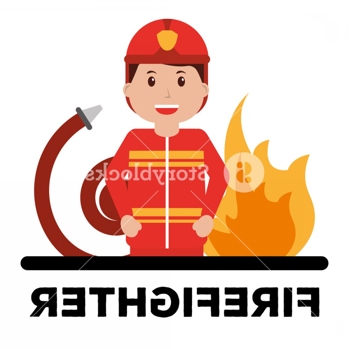 Red Professional Background Vectors: Firefighter Character Professional Avatar Typography Red Background Vector Illustration Rk Psbqozjedgh