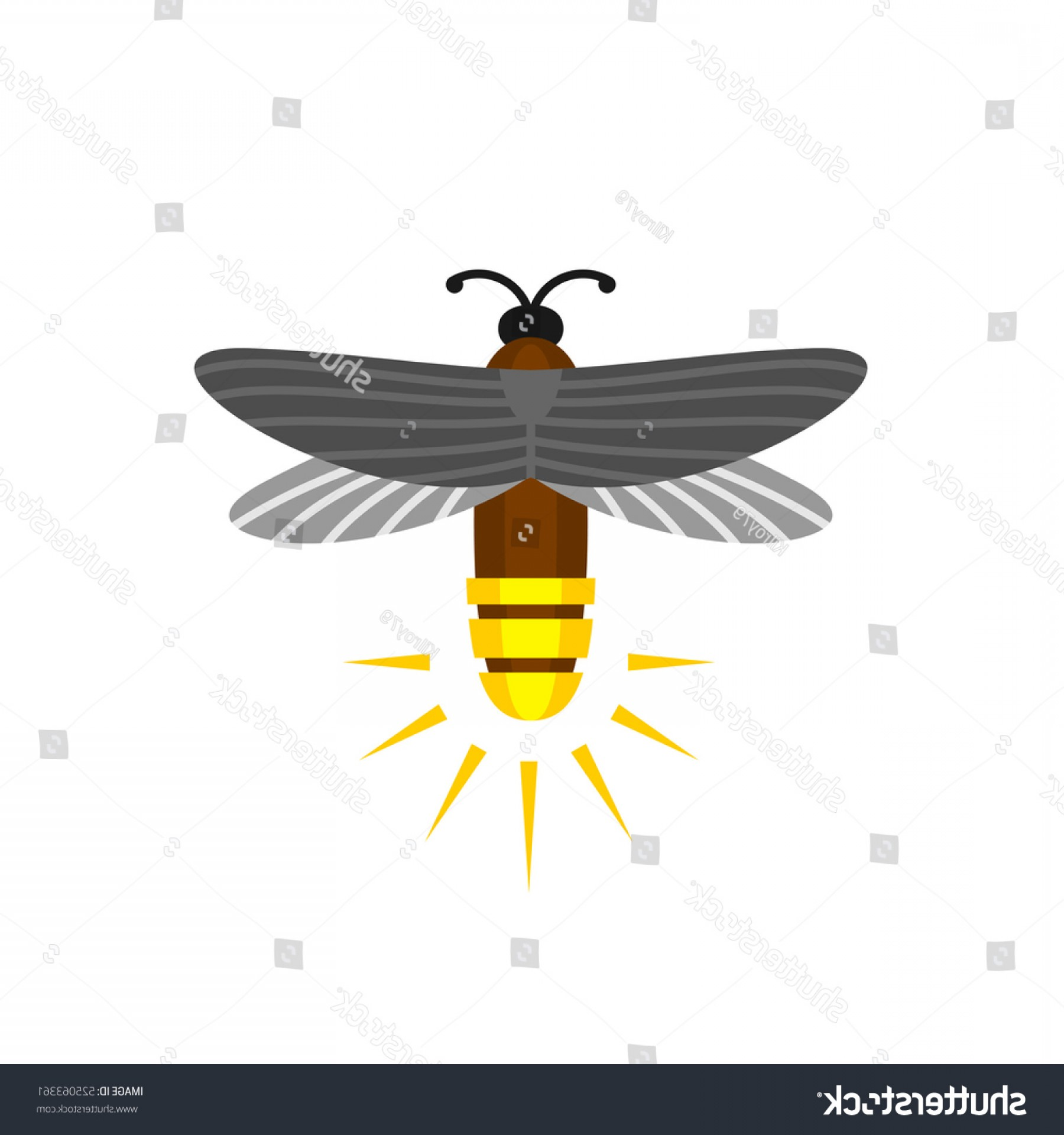Vector Insect Light: Firefly Isolated Cartoon Vector Logo Bug