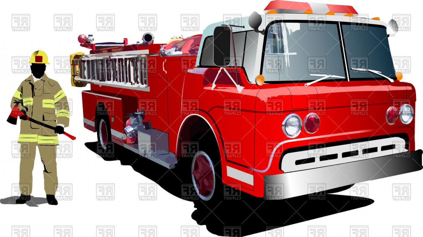 Fire Truck Vector Art: Fireman Stands Near The Fire Engine Vector Clipart