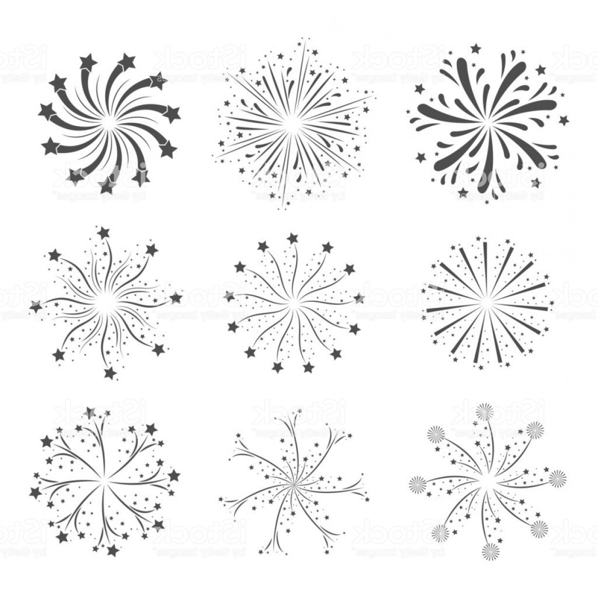 Vector-Based Grayscale Christmas: Fireworks Flashes Set In Grayscale Silhouette Over White Background Gm