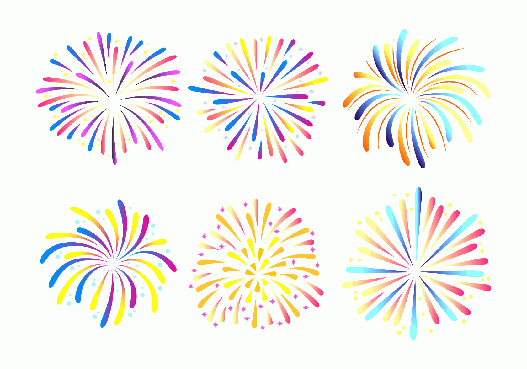 Firework Engraving Vector: Fireworks White Background Vector Collection