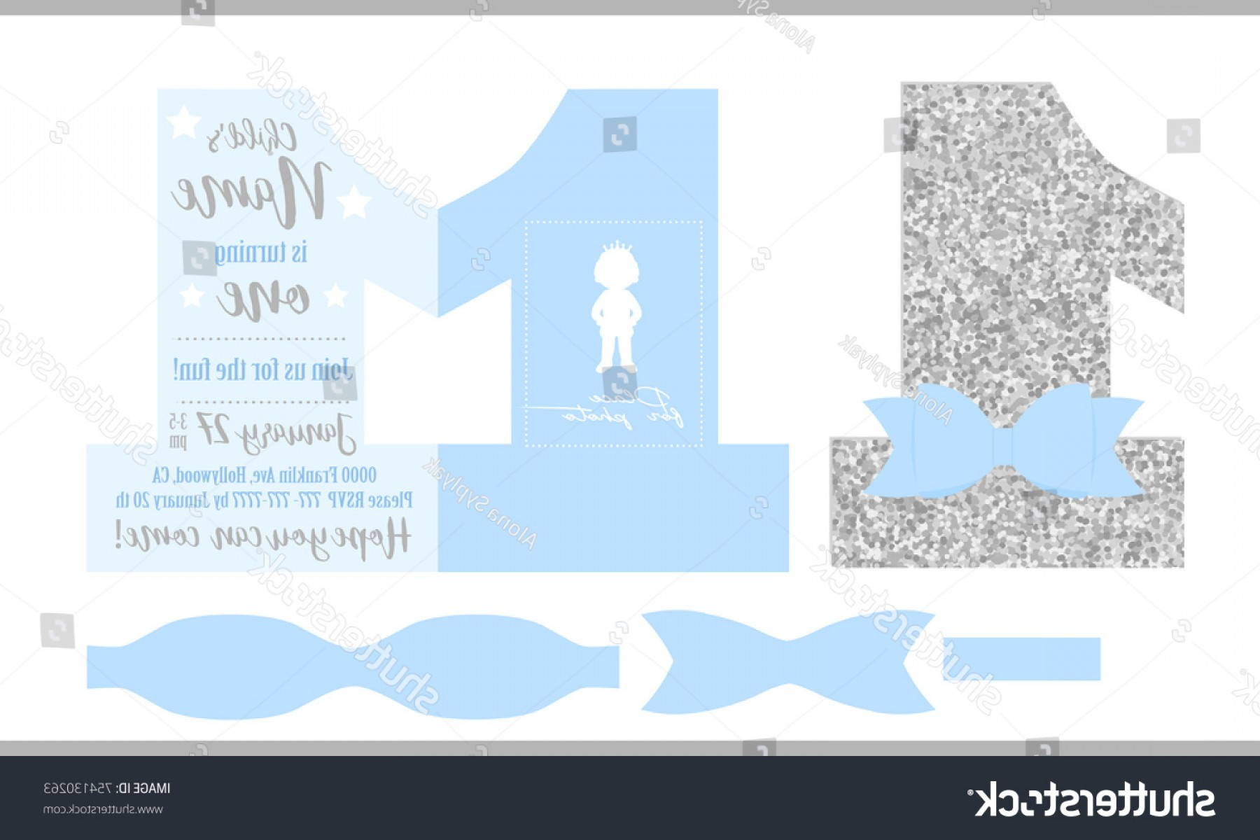 Silver Prince Vector: First Birthday Boys Party Printable Invitation